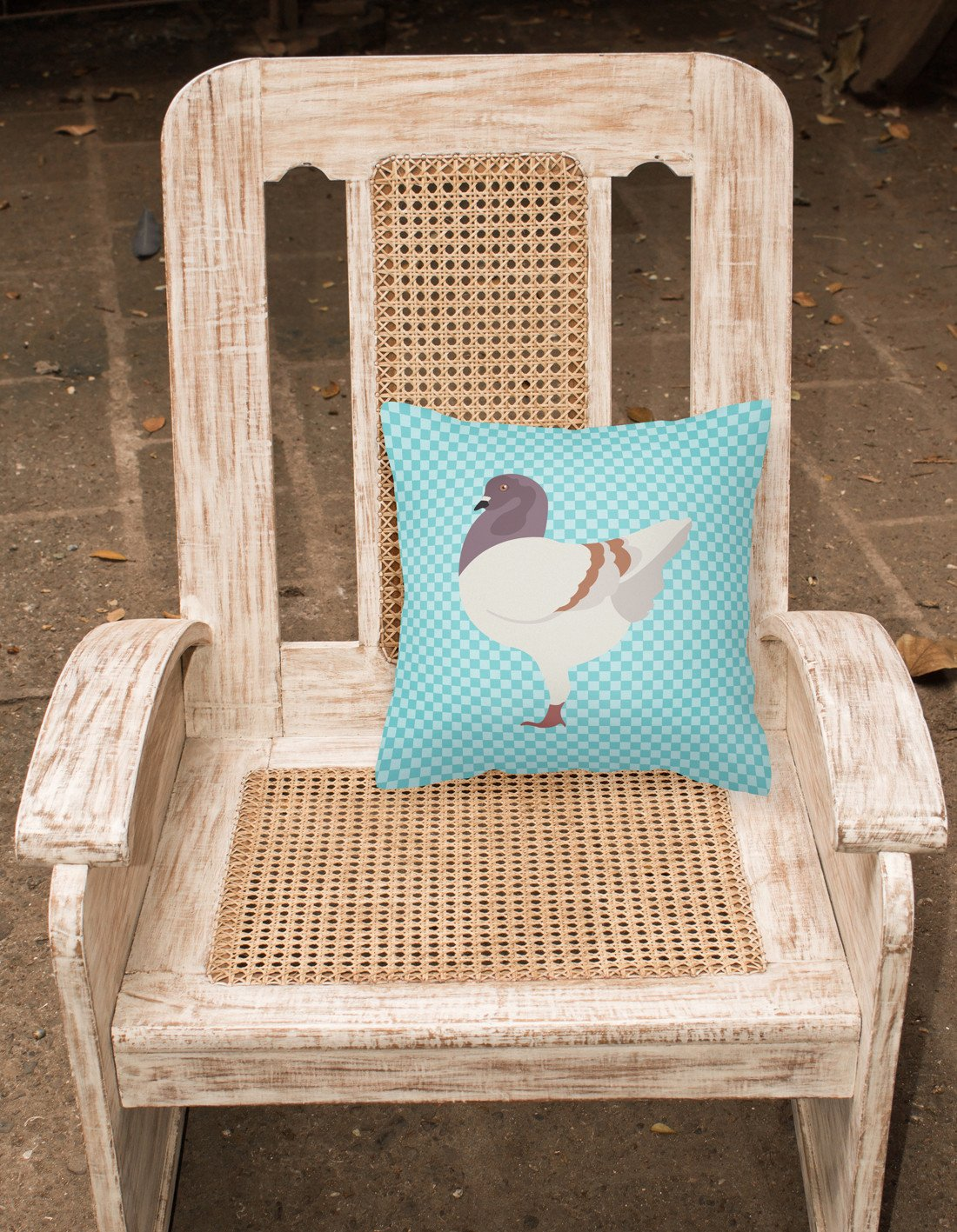 German Modena Pigeon Blue Check Fabric Decorative Pillow BB8123PW1818 by Caroline's Treasures