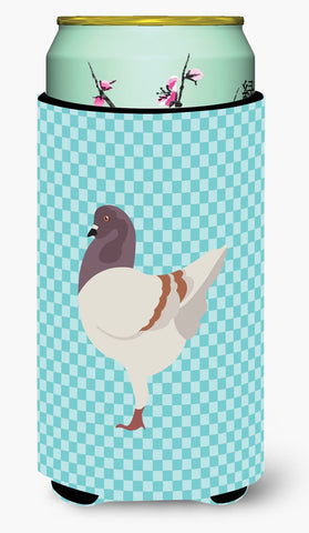 Buy this German Modena Pigeon Blue Check Tall Boy Beverage Insulator Hugger BB8123TBC