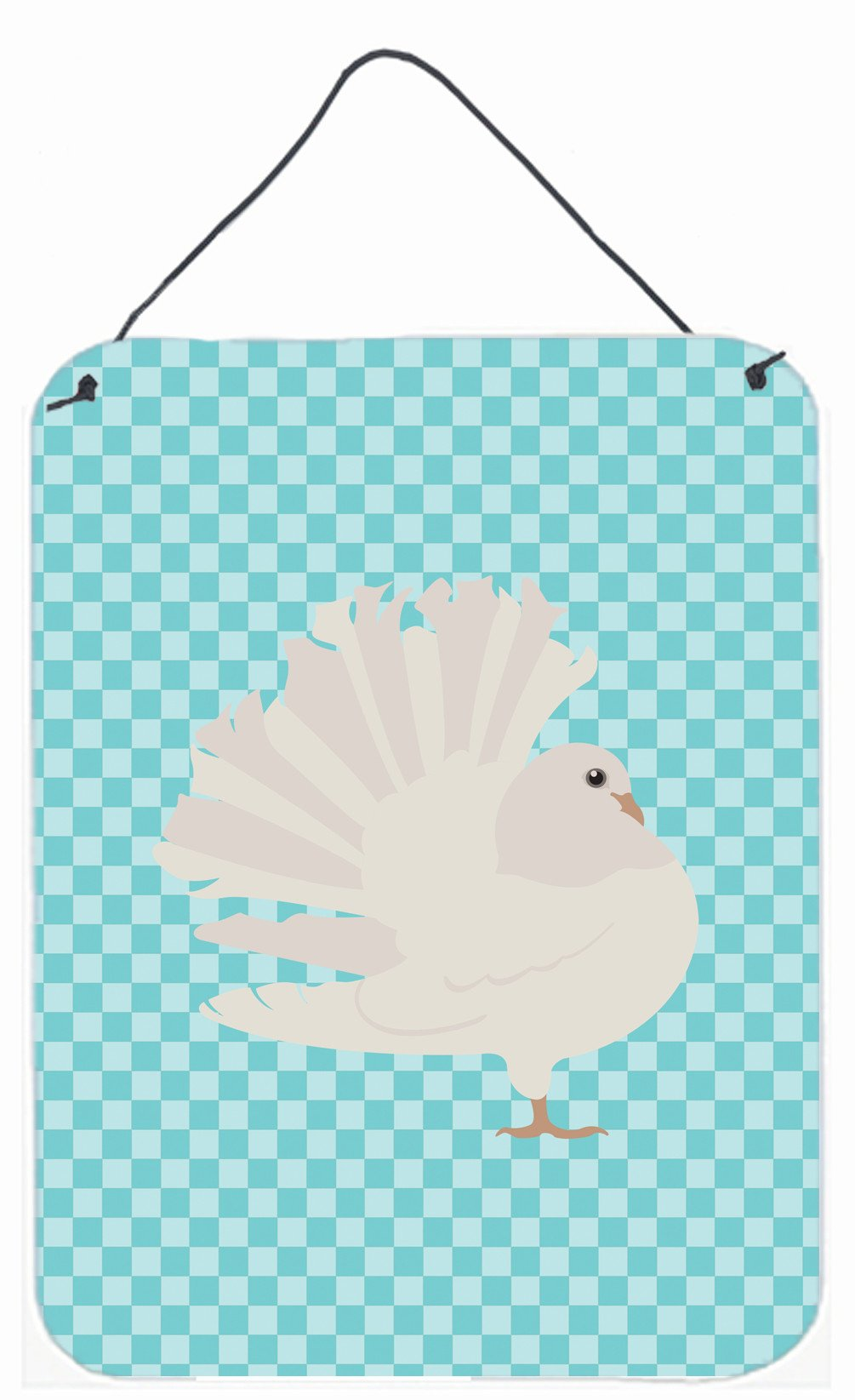 Buy this Silver Fantail Pigeon Blue Check Wall or Door Hanging Prints BB8124DS1216