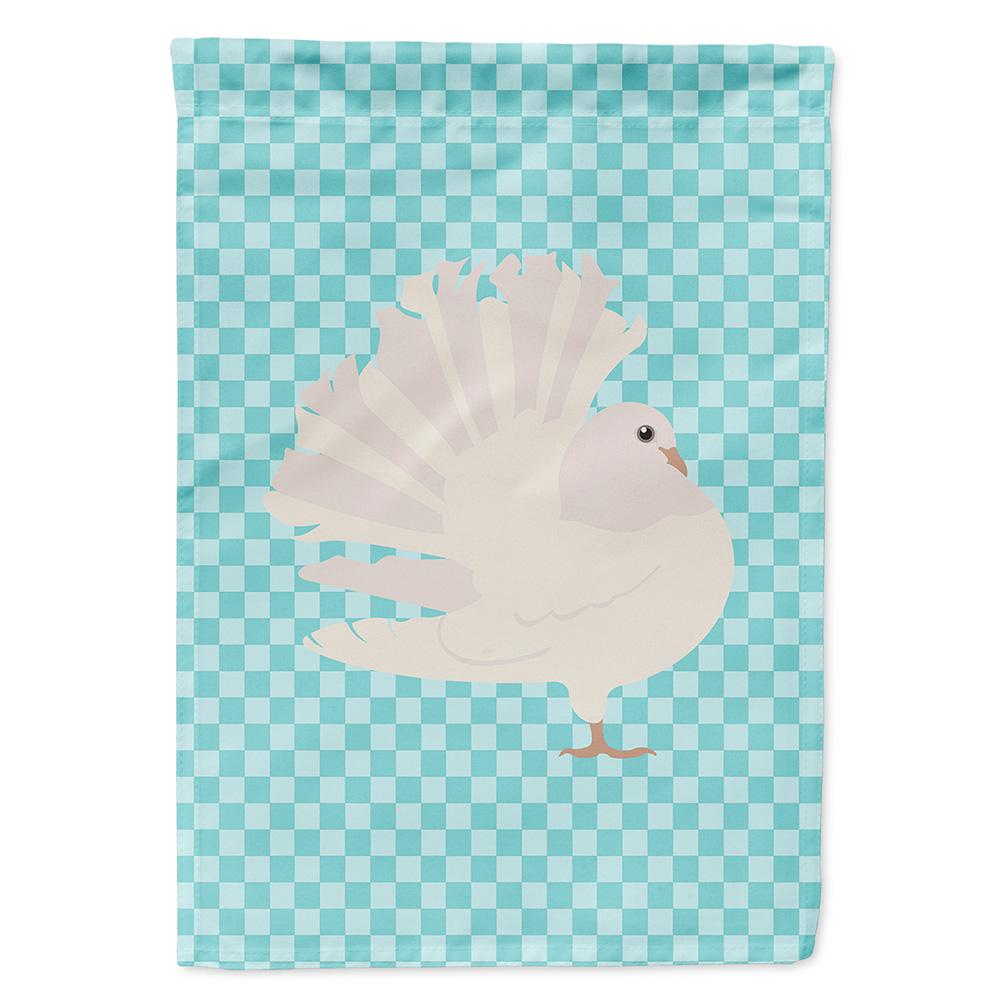 Silver Fantail Pigeon Blue Check Flag Garden Size by Caroline's Treasures