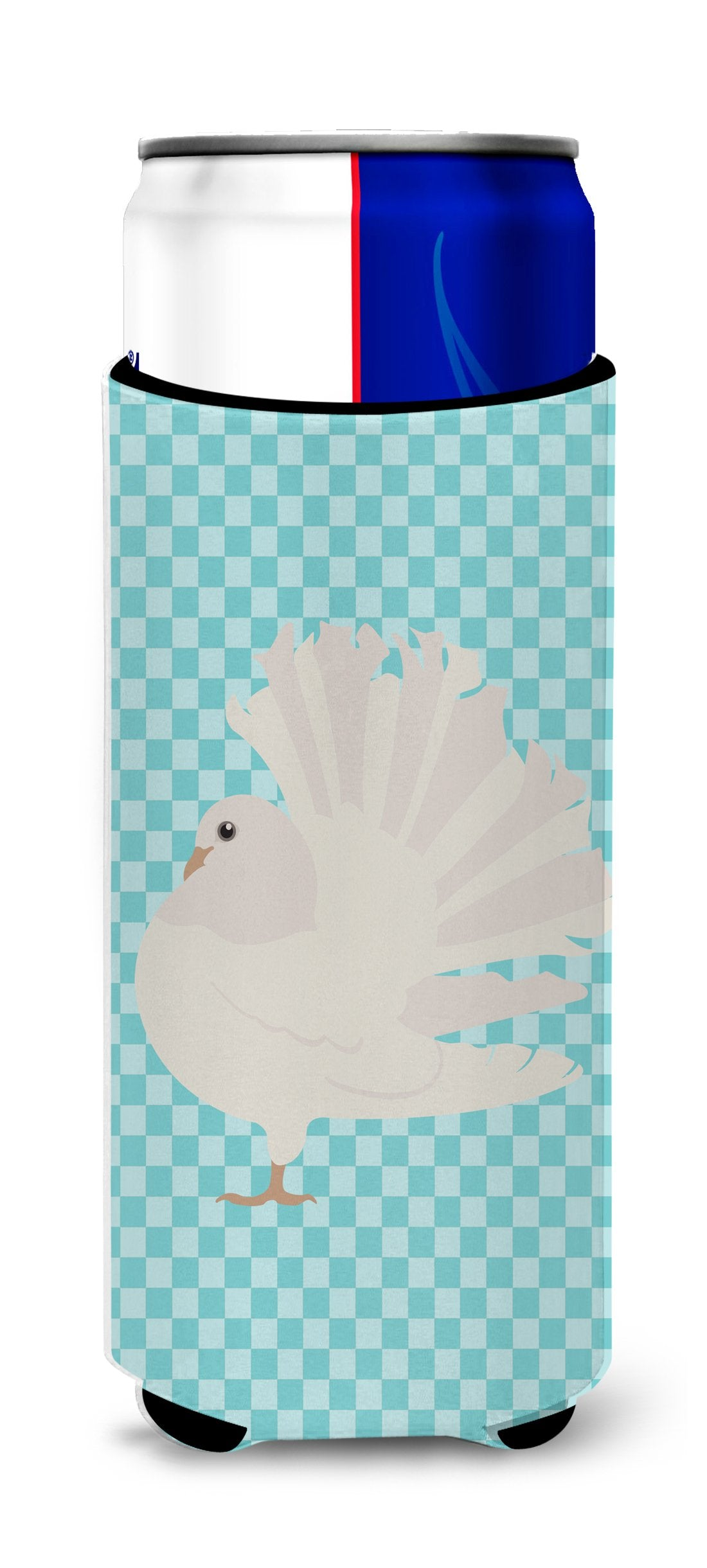Silver Fantail Pigeon Blue Check Michelob Ultra Hugger for slim cans by Caroline's Treasures