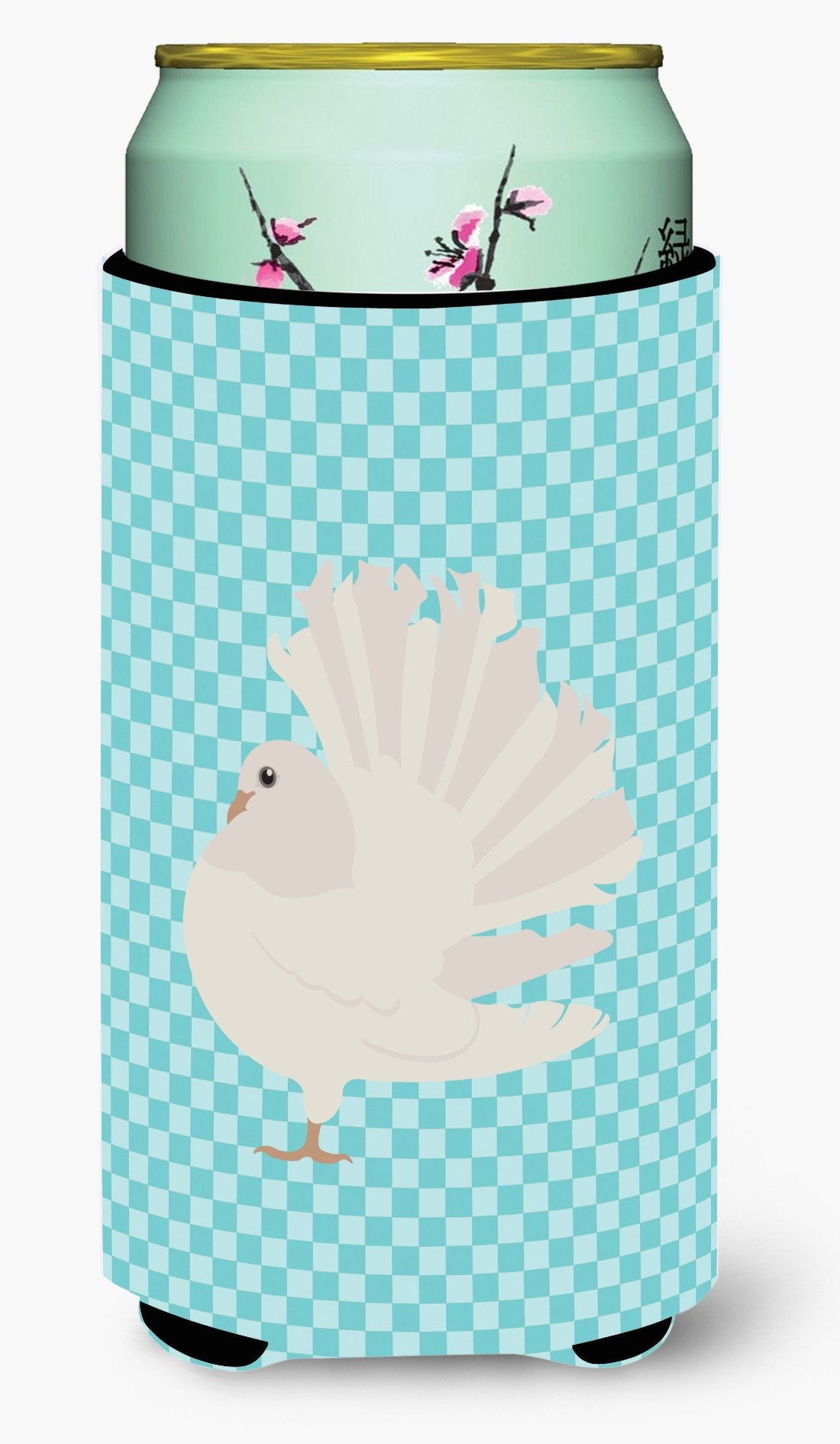 Silver Fantail Pigeon Blue Check Tall Boy Beverage Insulator Hugger BB8124TBC by Caroline's Treasures