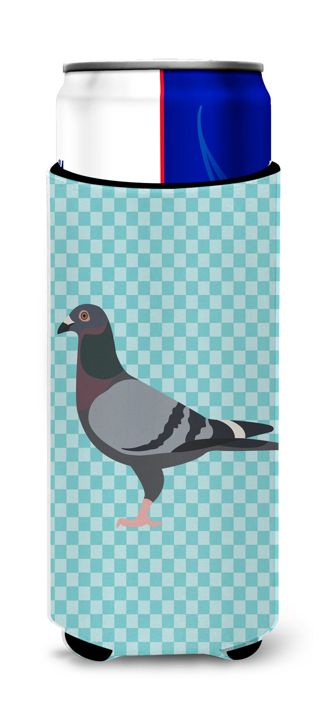 Racing Pigeon Blue Check Michelob Ultra Hugger for slim cans by Caroline's Treasures