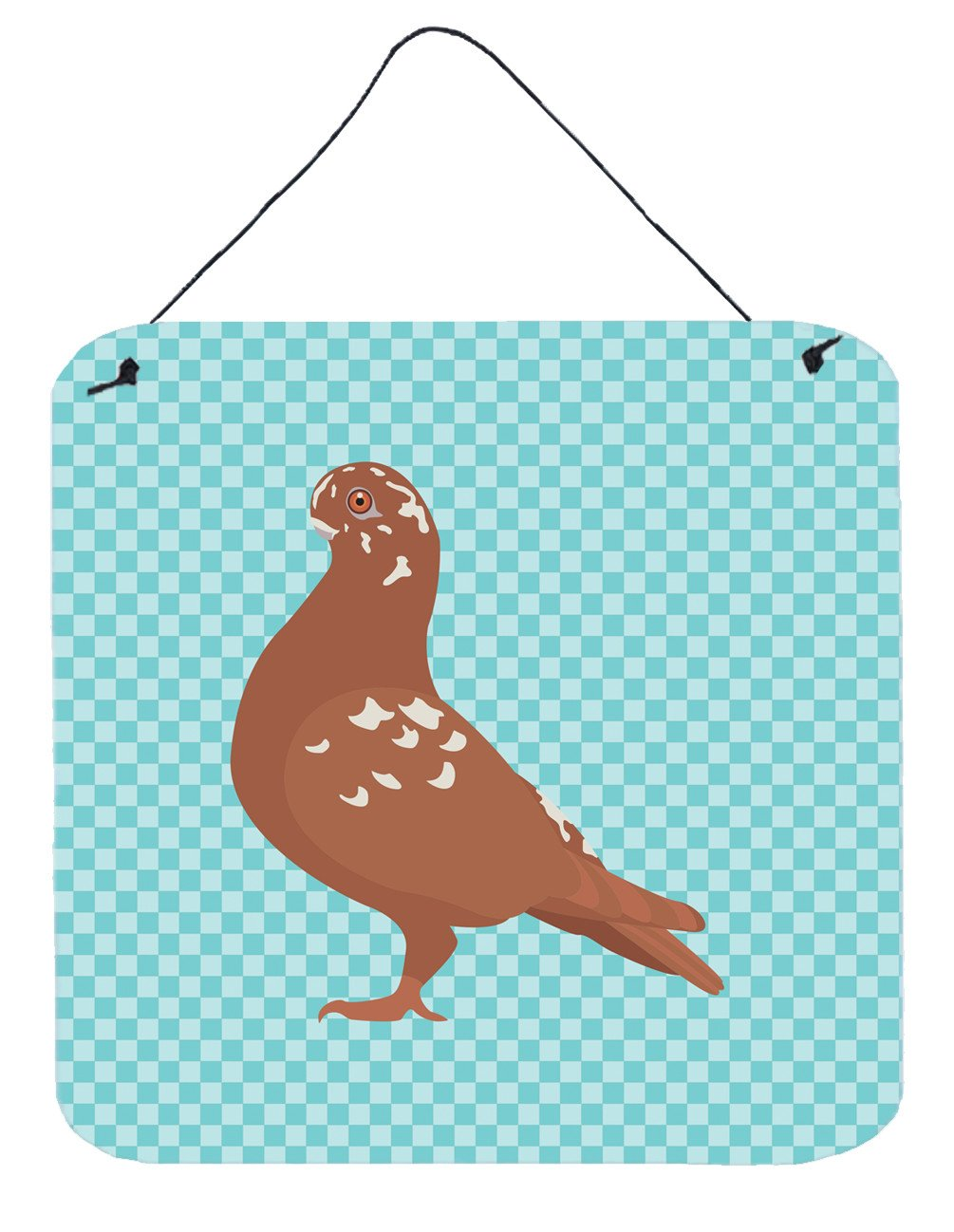 African Owl Pigeon Blue Check Wall or Door Hanging Prints BB8127DS66 by Caroline's Treasures