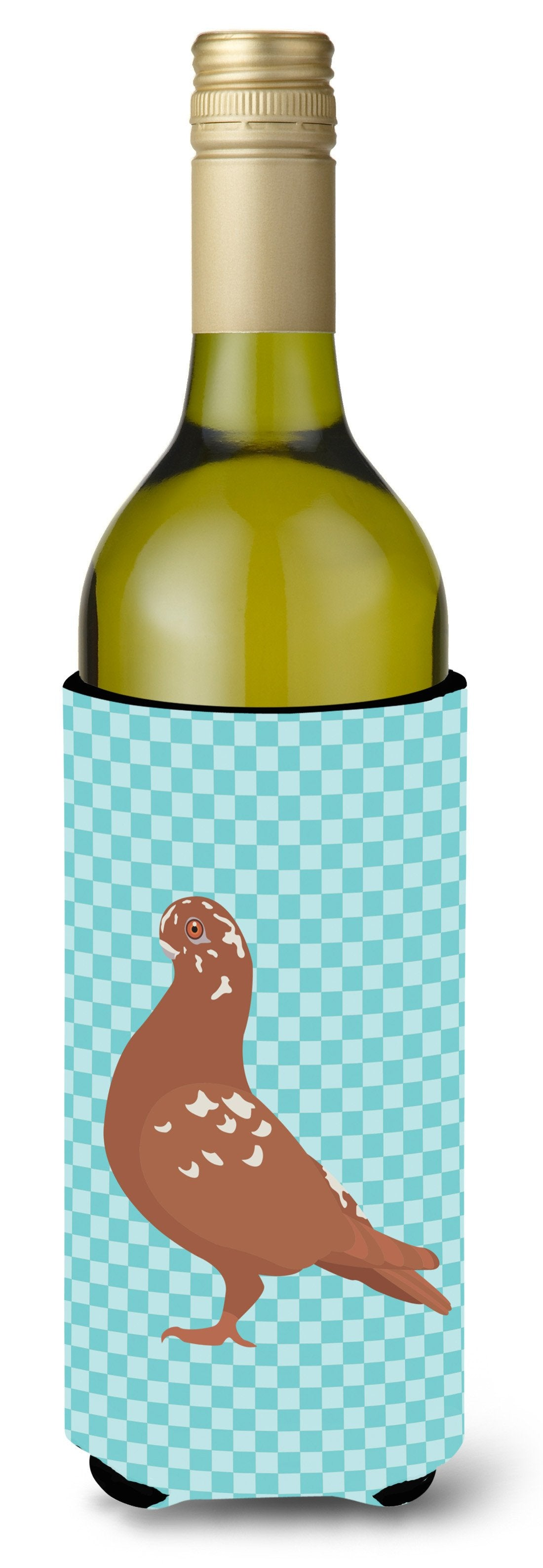 African Owl Pigeon Blue Check Wine Bottle Beverge Insulator Hugger BB8127LITERK by Caroline's Treasures