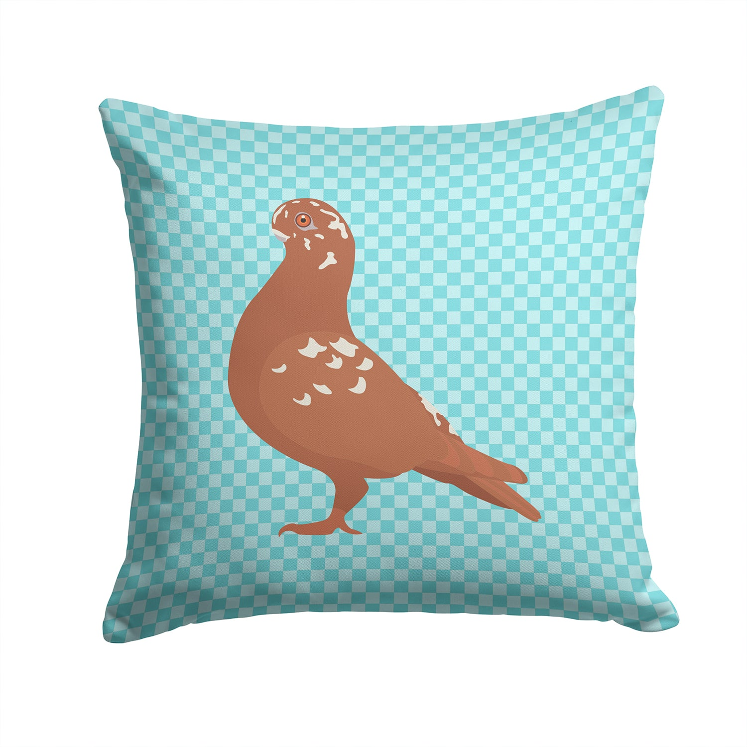 Buy this African Owl Pigeon Blue Check Fabric Decorative Pillow BB8127PW1414
