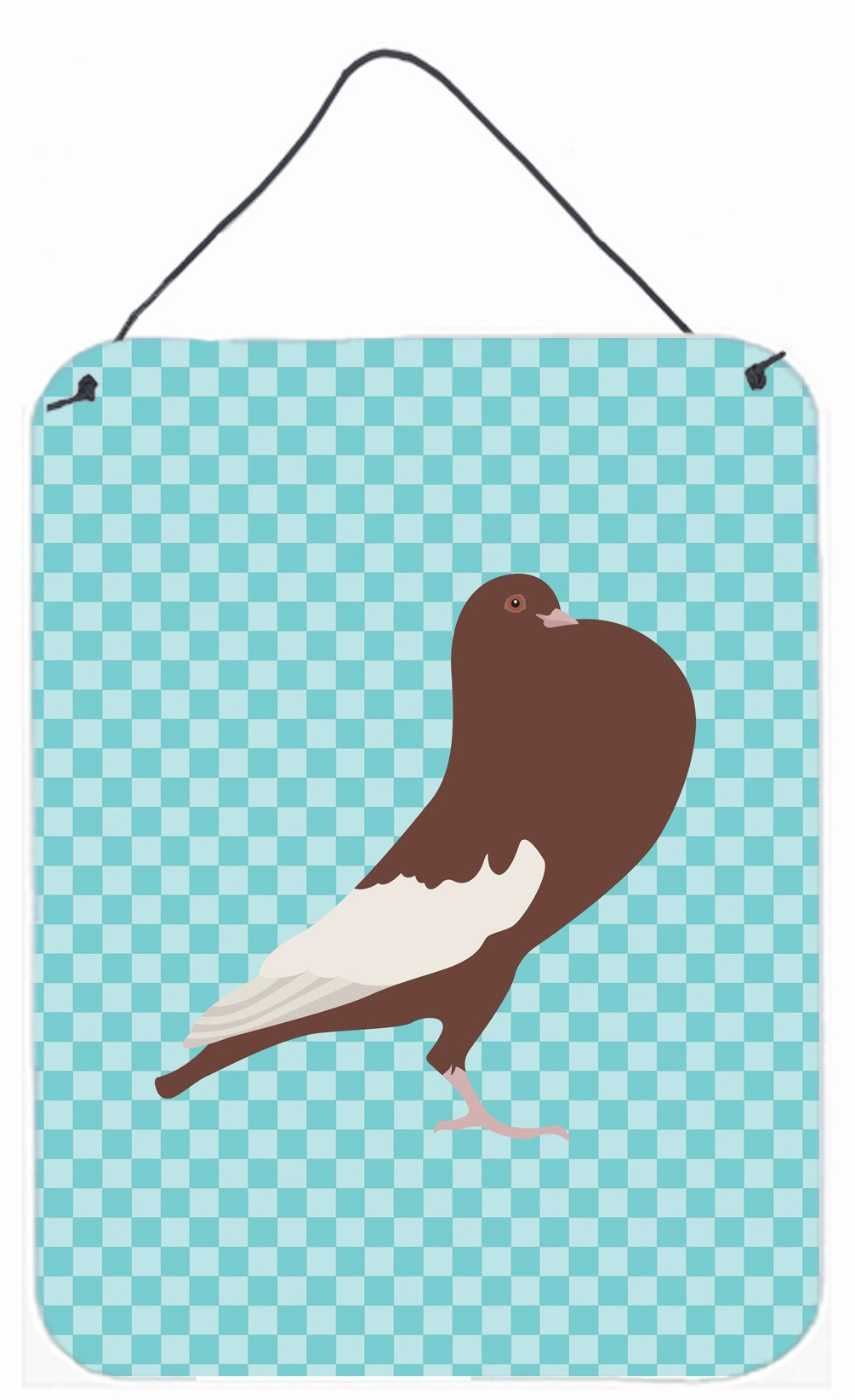 Buy this English Pouter Pigeon Blue Check Wall or Door Hanging Prints BB8128DS1216