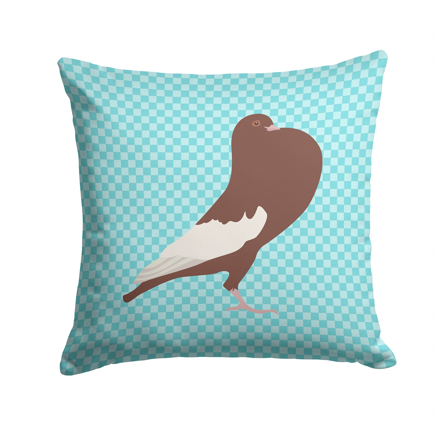 Buy this English Pouter Pigeon Blue Check Fabric Decorative Pillow BB8128PW1414