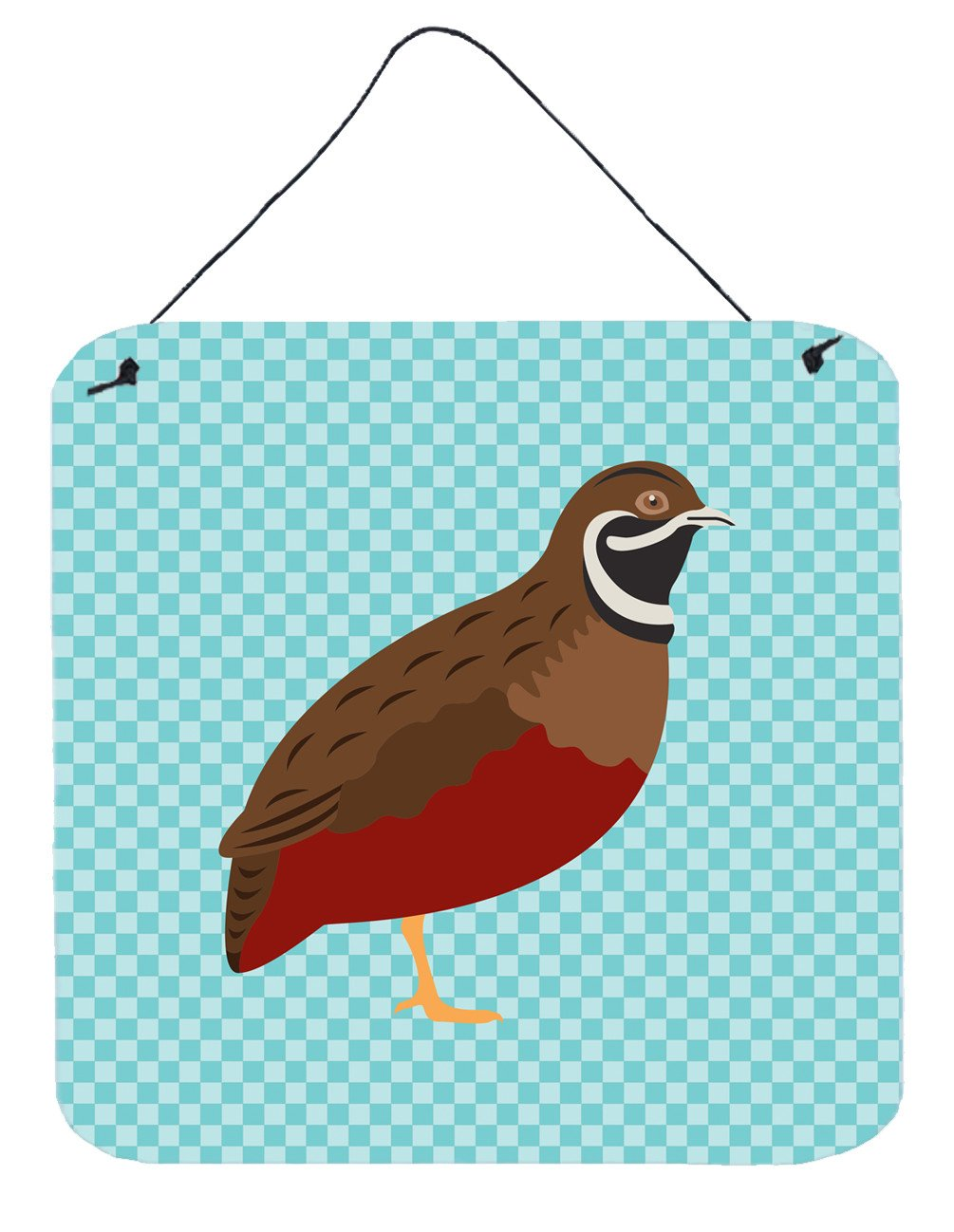 Chinese Painted or King Quail Blue Check Wall or Door Hanging Prints BB8130DS66 by Caroline's Treasures