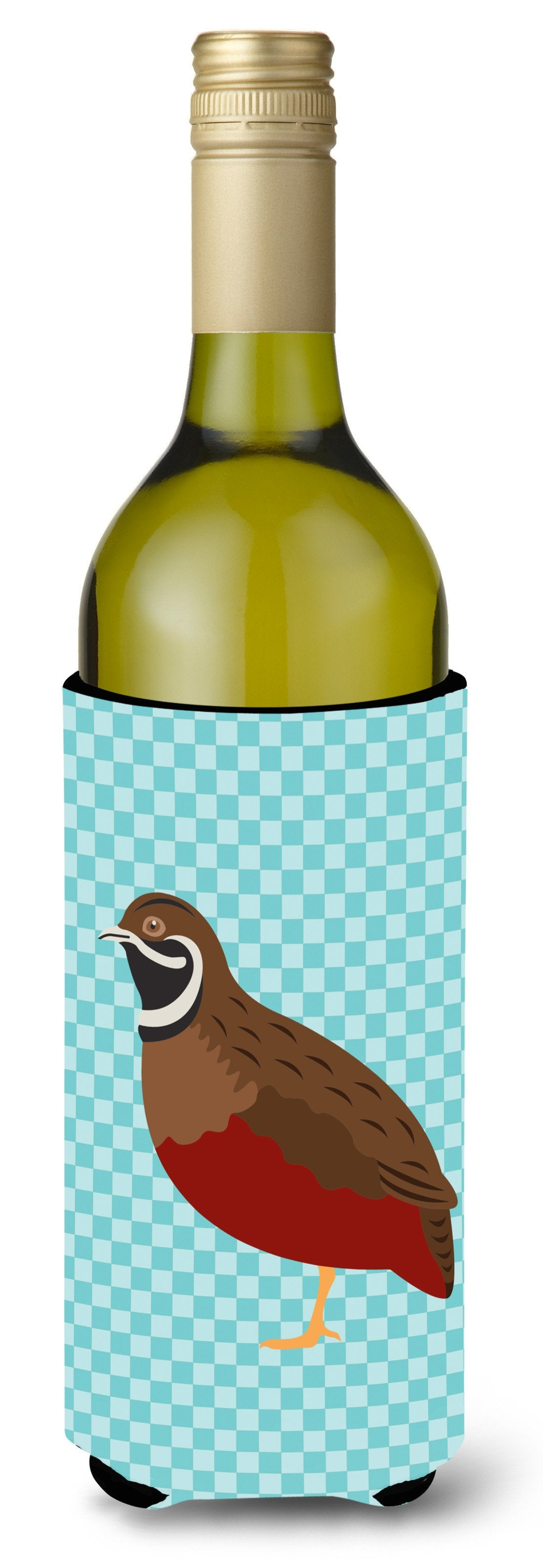 Chinese Painted or King Quail Blue Check Wine Bottle Beverge Insulator Hugger BB8130LITERK by Caroline's Treasures