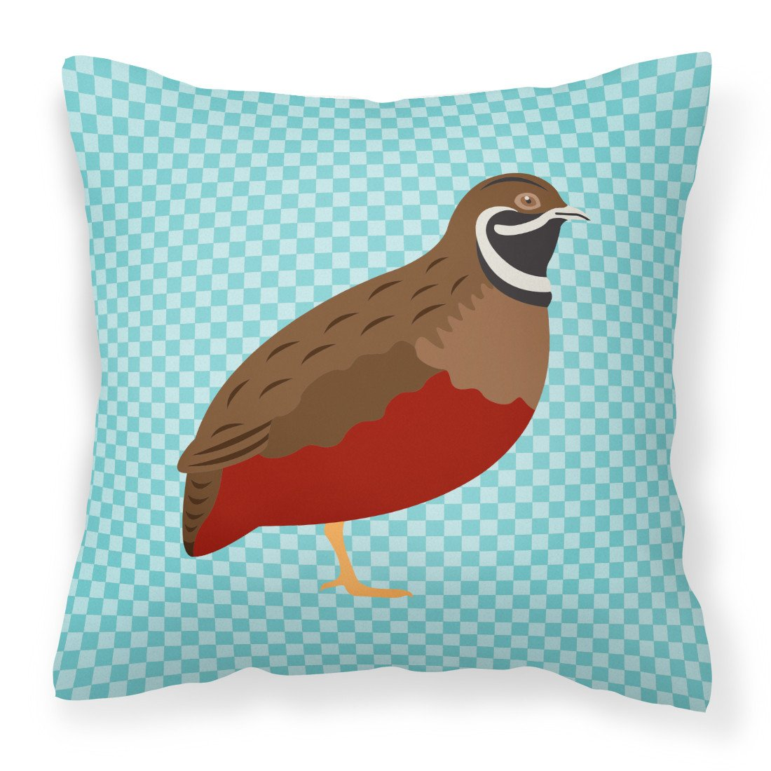 Chinese Painted or King Quail Blue Check Fabric Decorative Pillow BB8130PW1818 by Caroline's Treasures