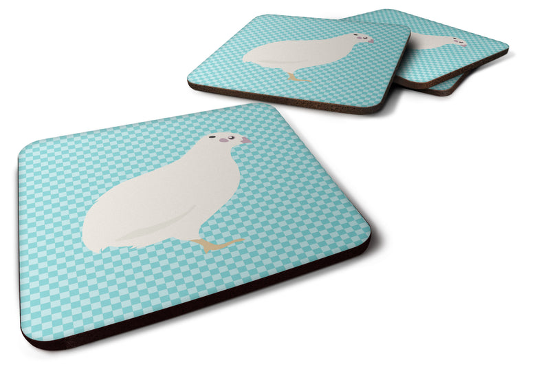 Buy this Texas Quail Blue Check Foam Coaster Set of 4 BB8131FC