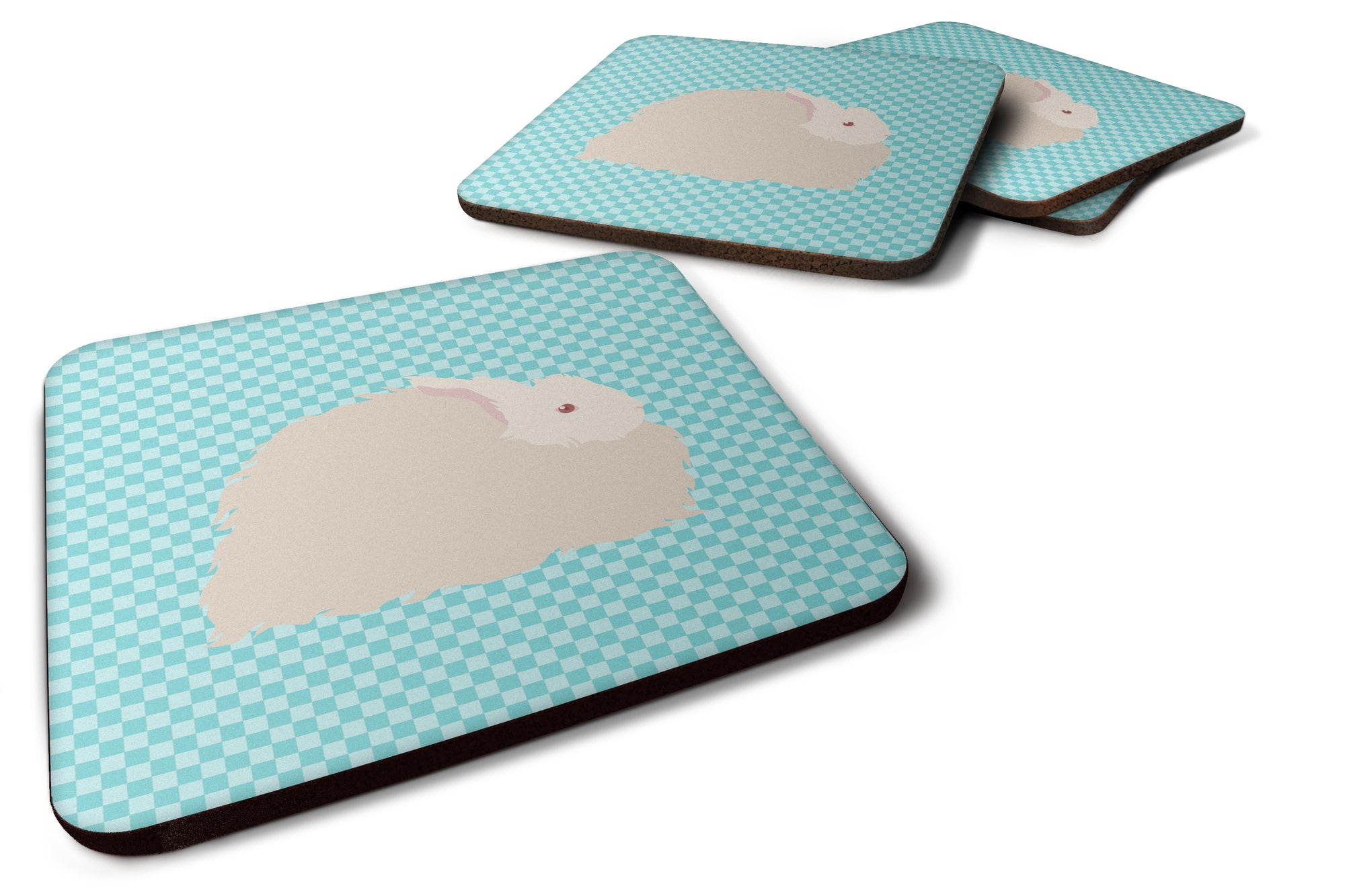 Buy this Fluffy Angora Rabbit Blue Check Foam Coaster Set of 4 BB8133FC