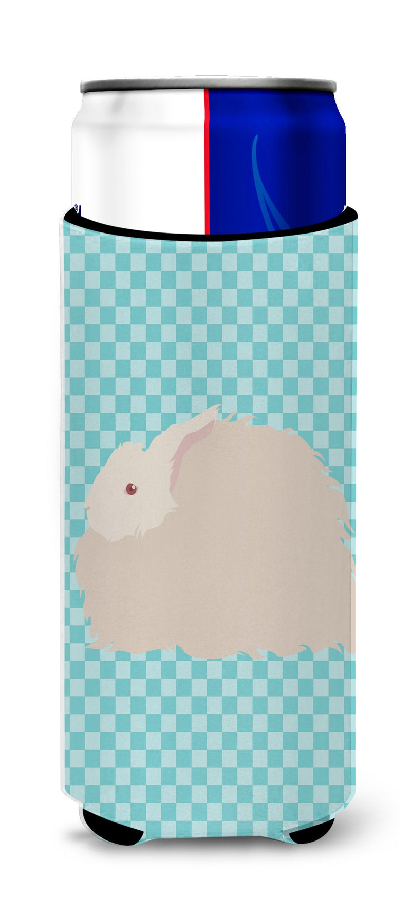 Buy this Fluffy Angora Rabbit Blue Check Michelob Ultra Hugger for slim cans