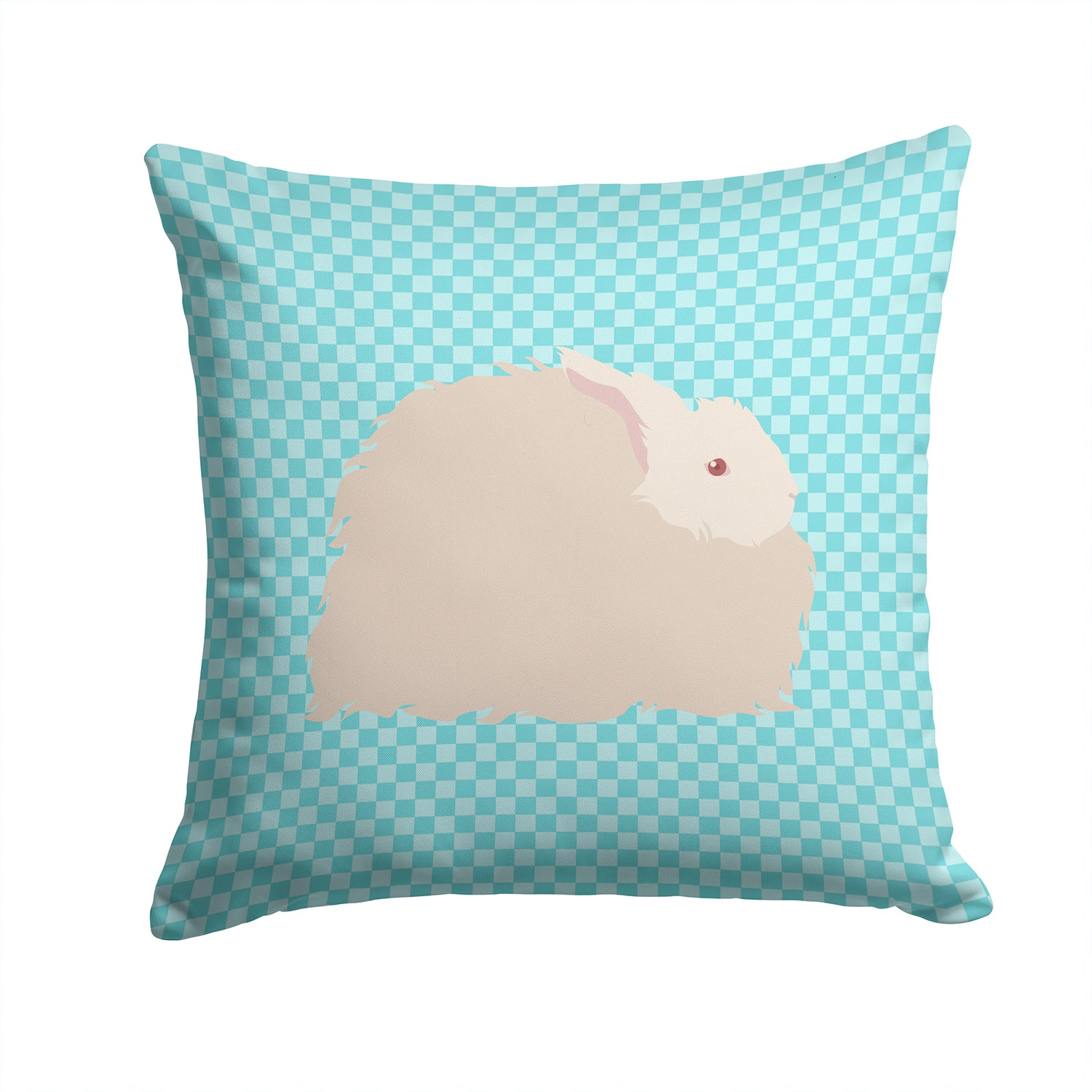 Buy this Fluffy Angora Rabbit Blue Check Fabric Decorative Pillow BB8133PW1414