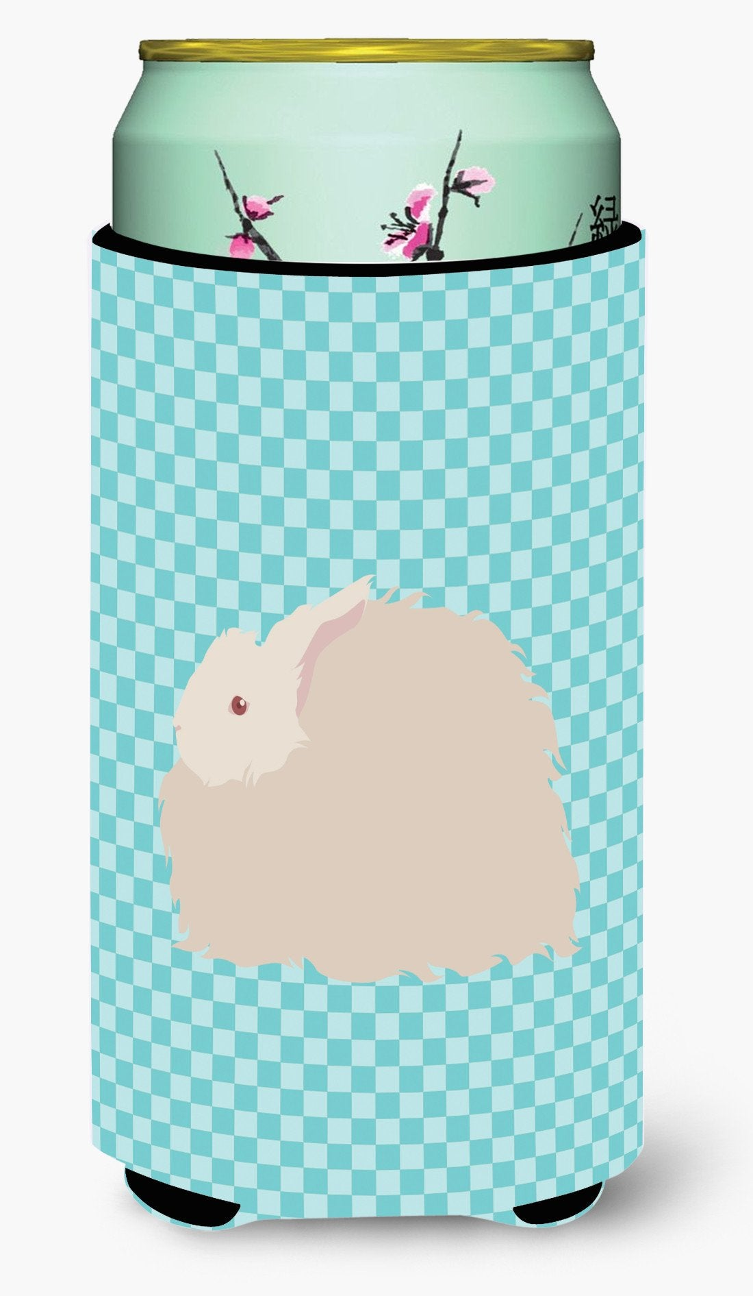 Buy this Fluffy Angora Rabbit Blue Check Tall Boy Beverage Insulator Hugger BB8133TBC