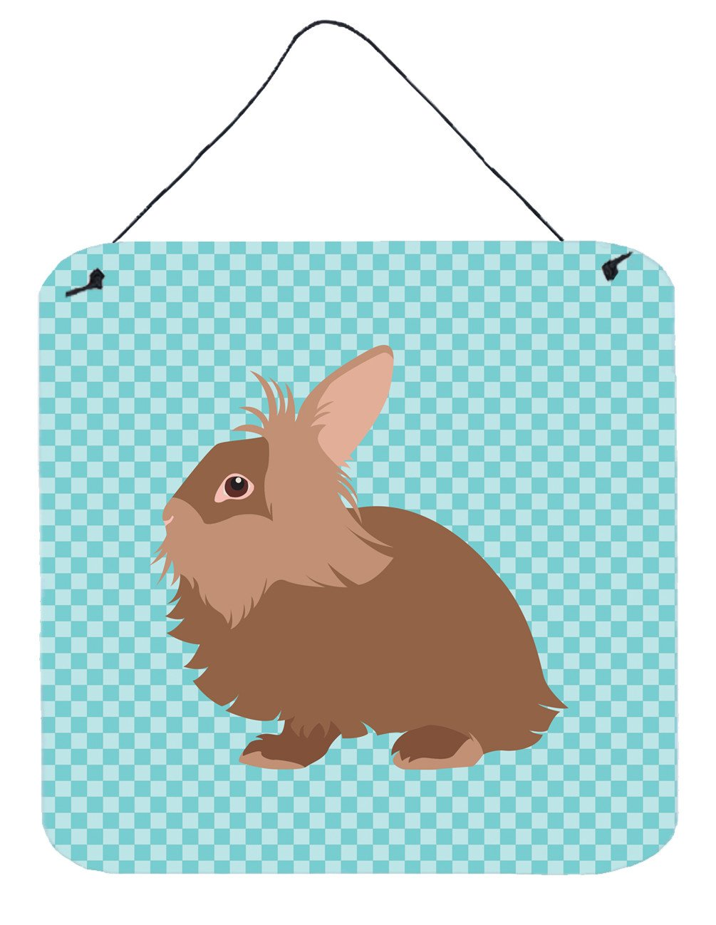 Lionhead Rabbit Blue Check Wall or Door Hanging Prints BB8134DS66 by Caroline's Treasures