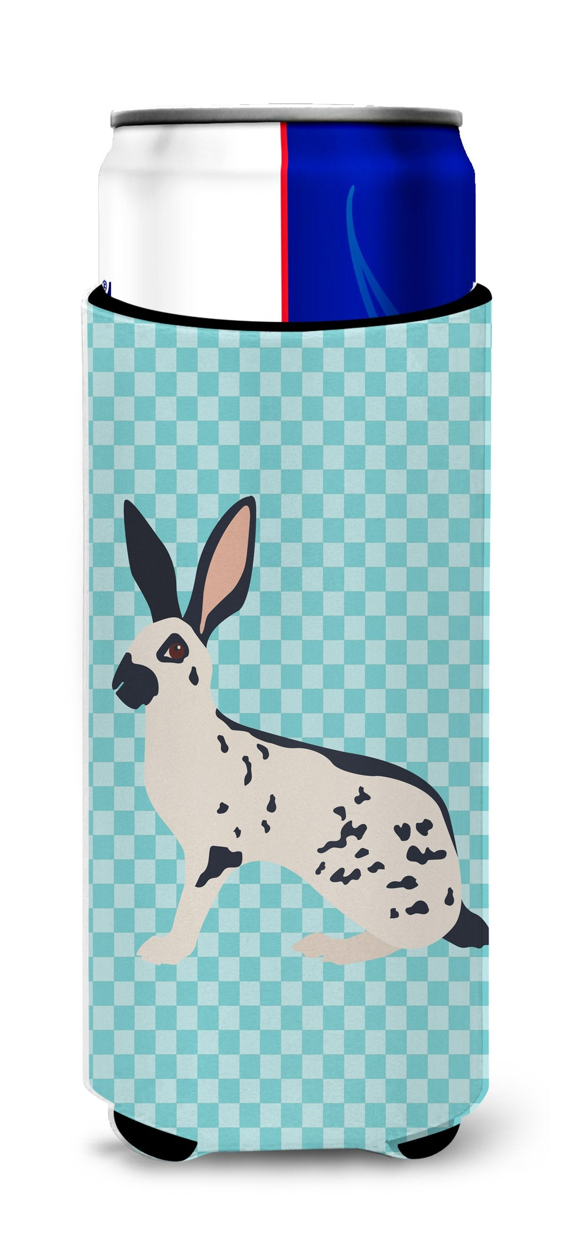 English Spot Rabbit Blue Check Michelob Ultra Hugger for slim cans by Caroline's Treasures