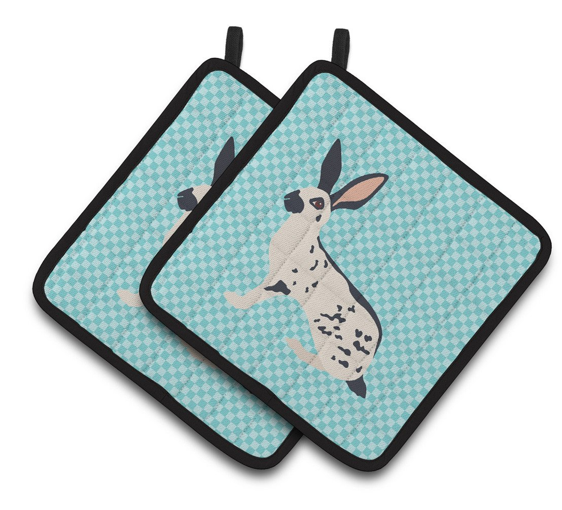 English Spot Rabbit Blue Check Pair of Pot Holders BB8135PTHD by Caroline's Treasures