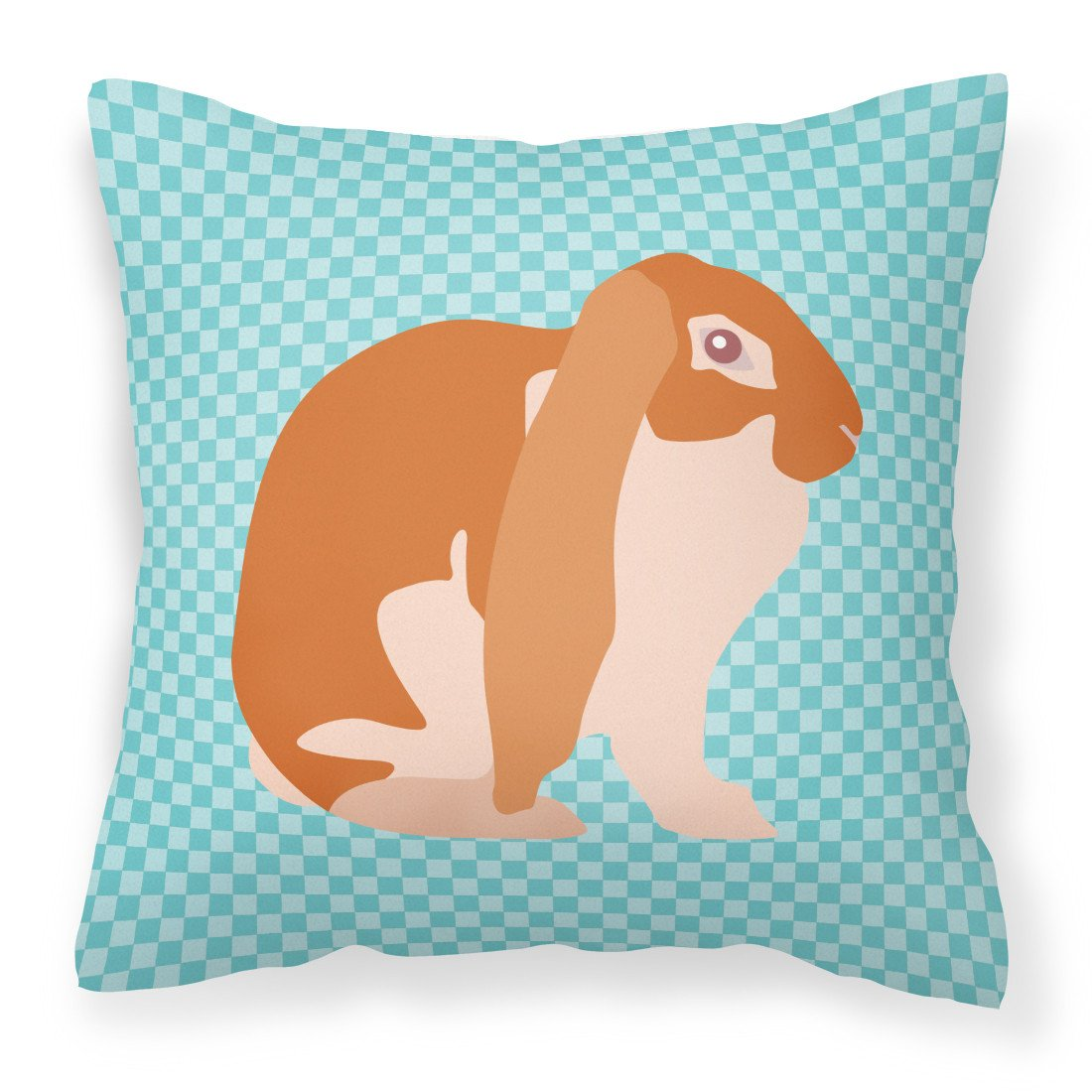 Buy this English Lop Rabbit Blue Check Fabric Decorative Pillow BB8136PW1818