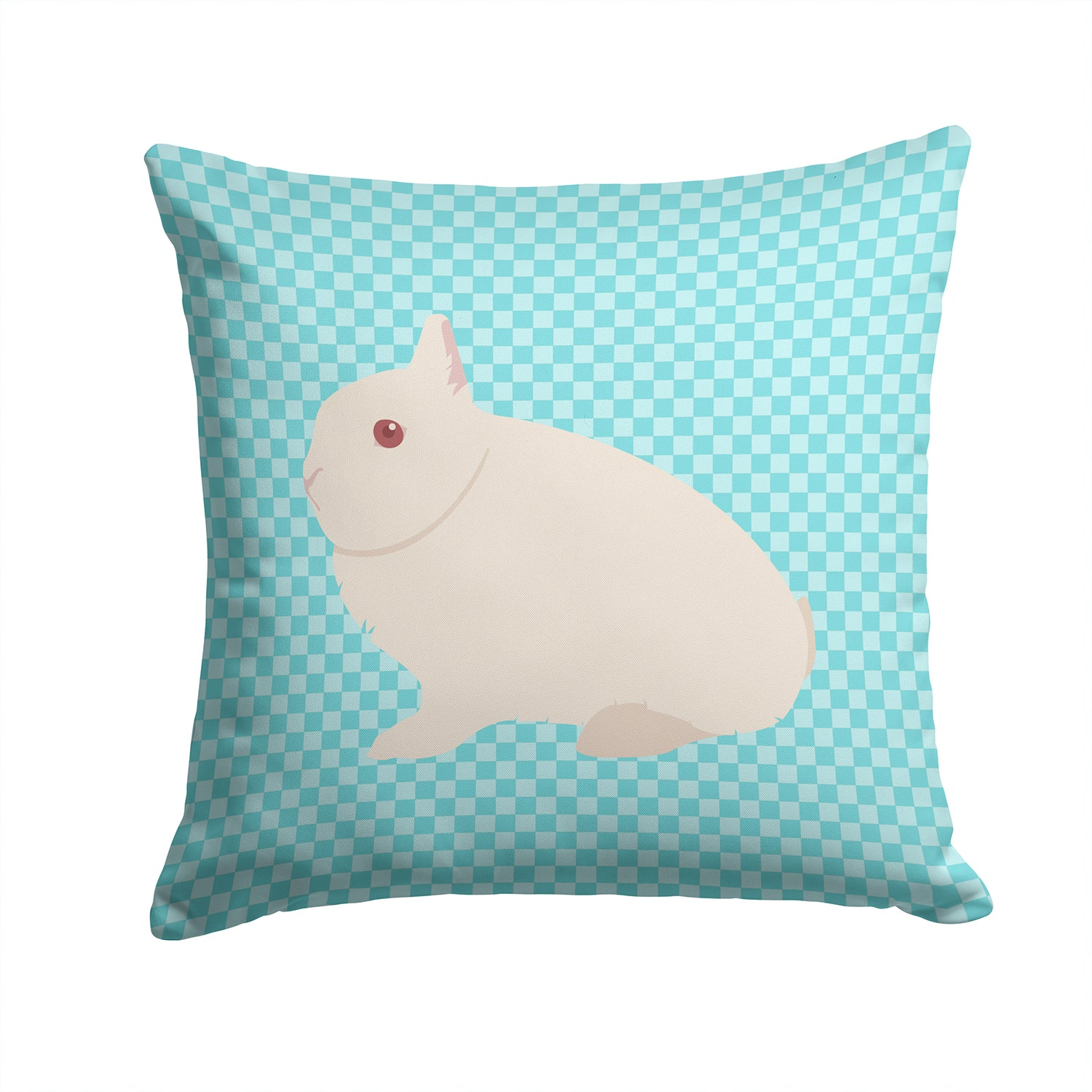Hermelin Rabbit Blue Check Fabric Decorative Pillow BB8138PW1414 by Caroline's Treasures