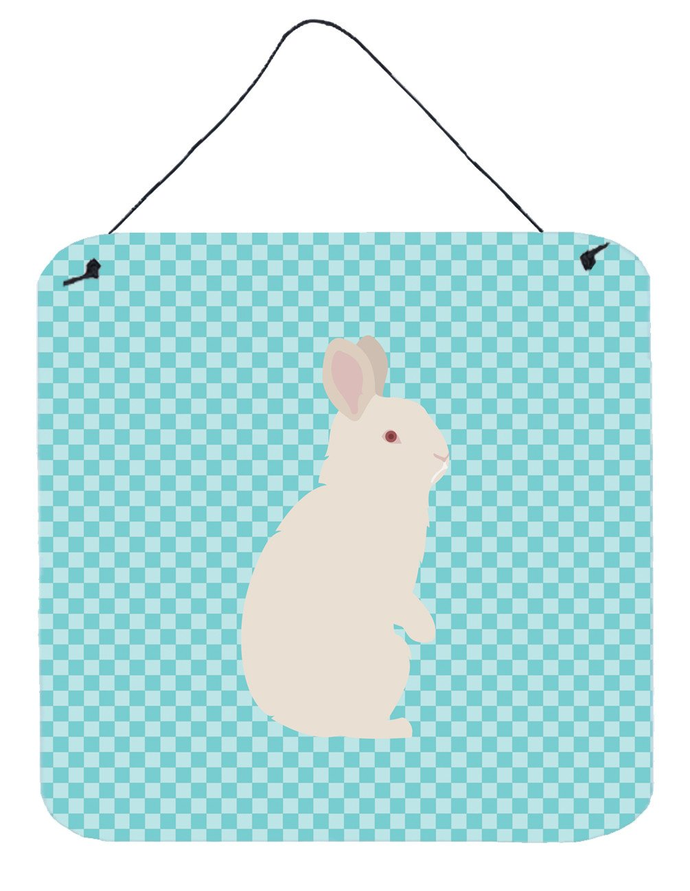 New Zealand White Rabbit Blue Check Wall or Door Hanging Prints BB8139DS66 by Caroline's Treasures