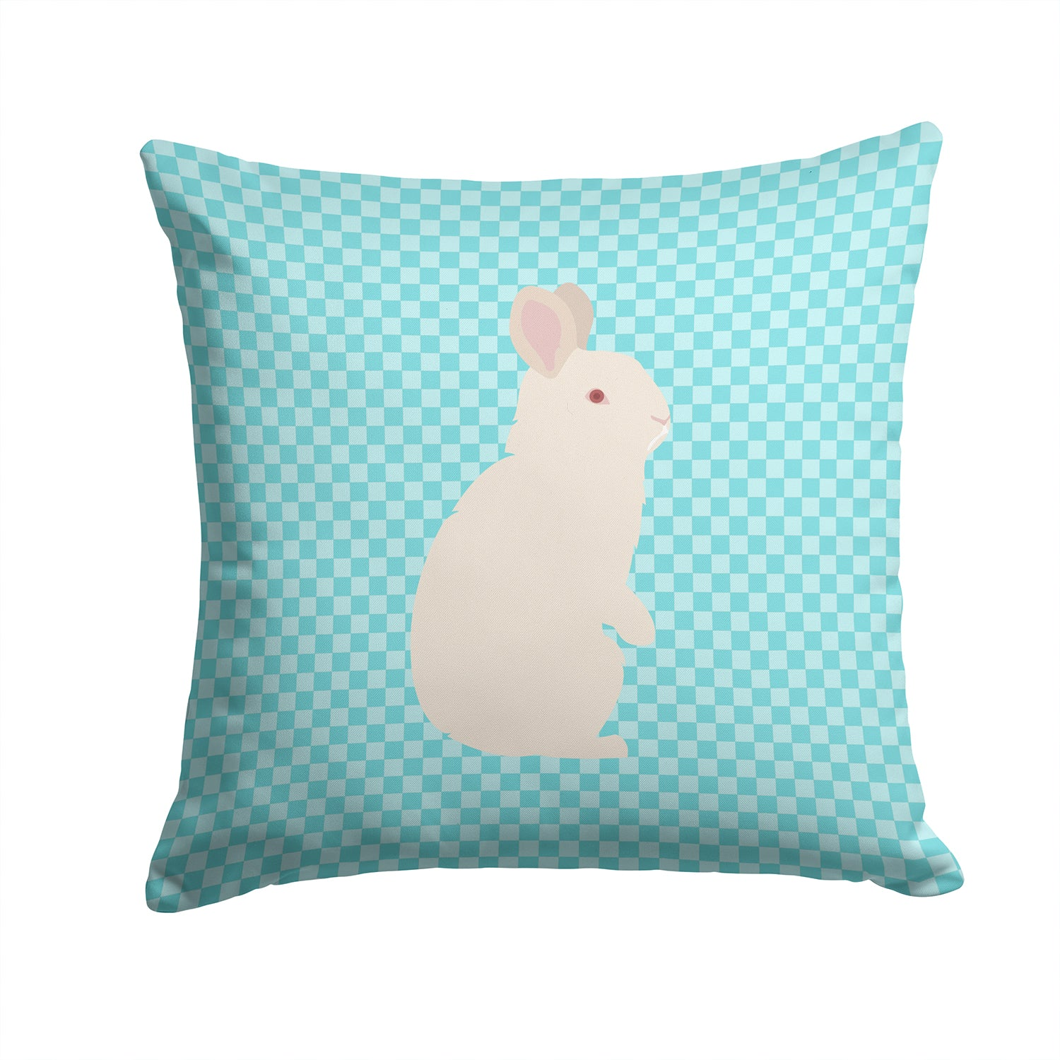 New Zealand White Rabbit Blue Check Fabric Decorative Pillow BB8139PW1414 by Caroline's Treasures