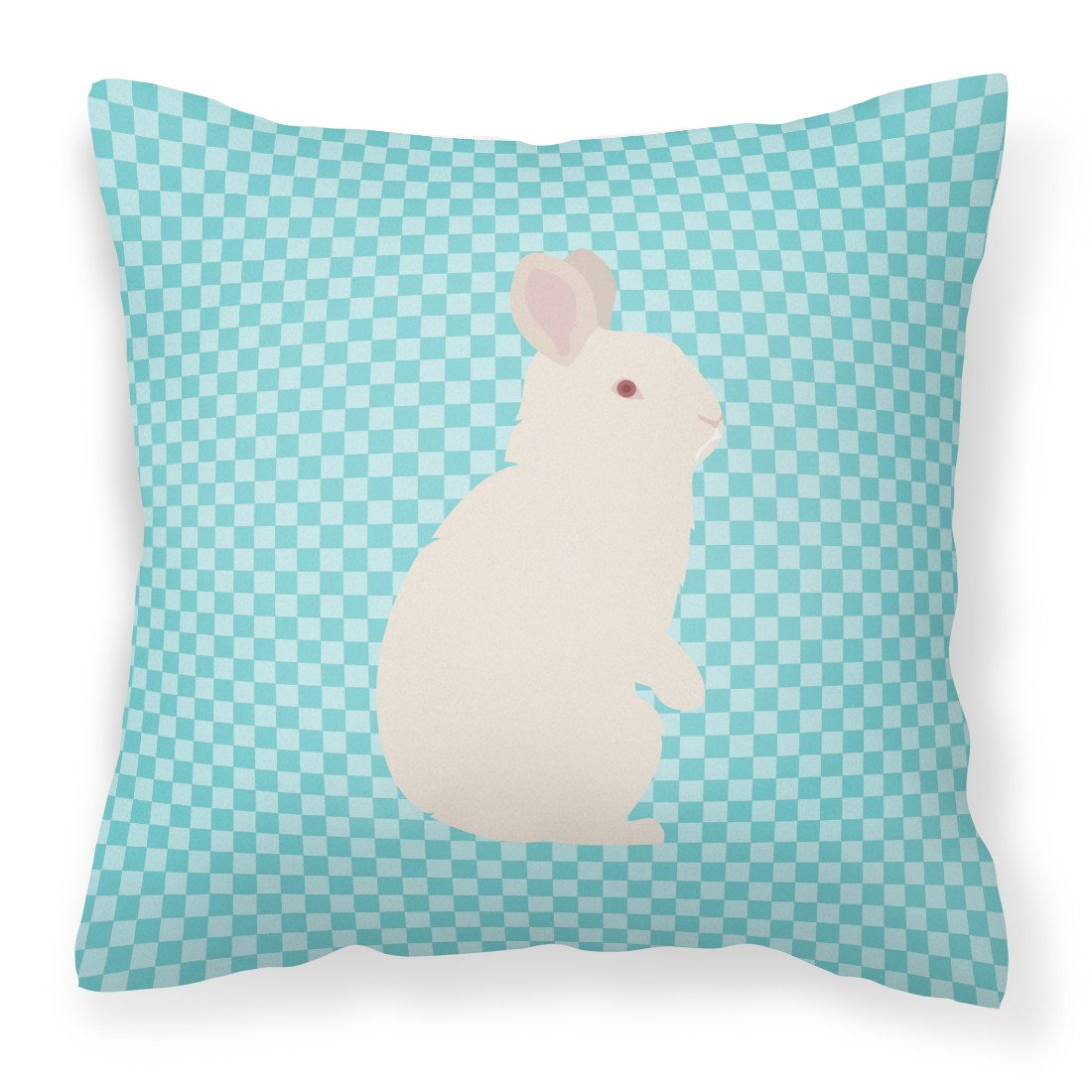 New Zealand White Rabbit Blue Check Fabric Decorative Pillow BB8139PW1818 by Caroline's Treasures