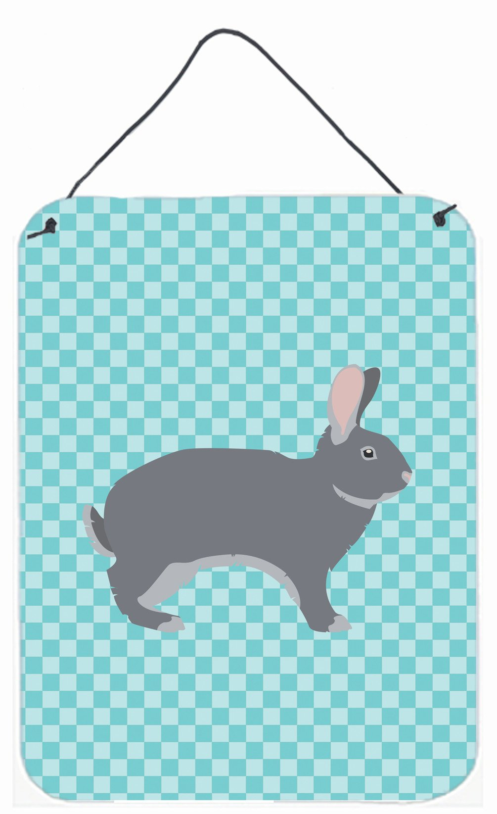 Buy this Giant Chinchilla Rabbit Blue Check Wall or Door Hanging Prints BB8140DS1216