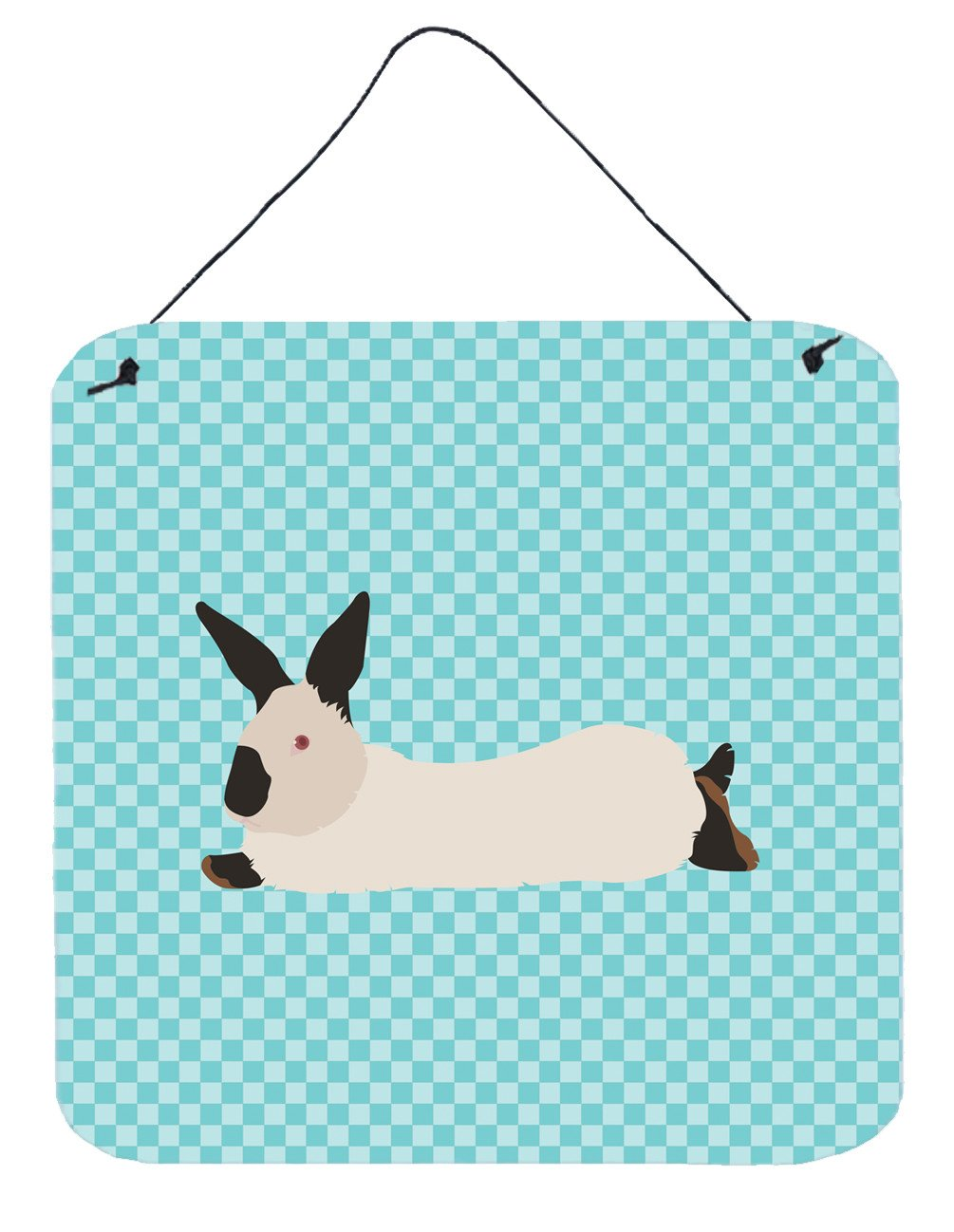 California White Rabbit Blue Check Wall or Door Hanging Prints BB8141DS66 by Caroline's Treasures