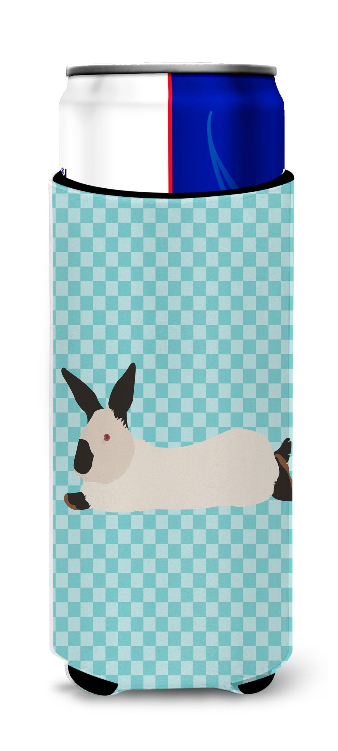 California White Rabbit Blue Check Michelob Ultra Hugger for slim cans by Caroline's Treasures