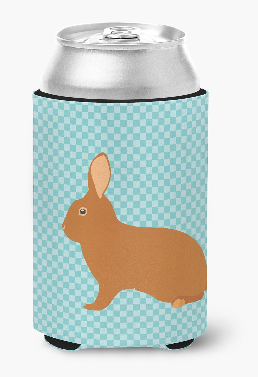 Rex Rabbit Blue Check Can or Bottle Hugger BB8143CC by Caroline's Treasures