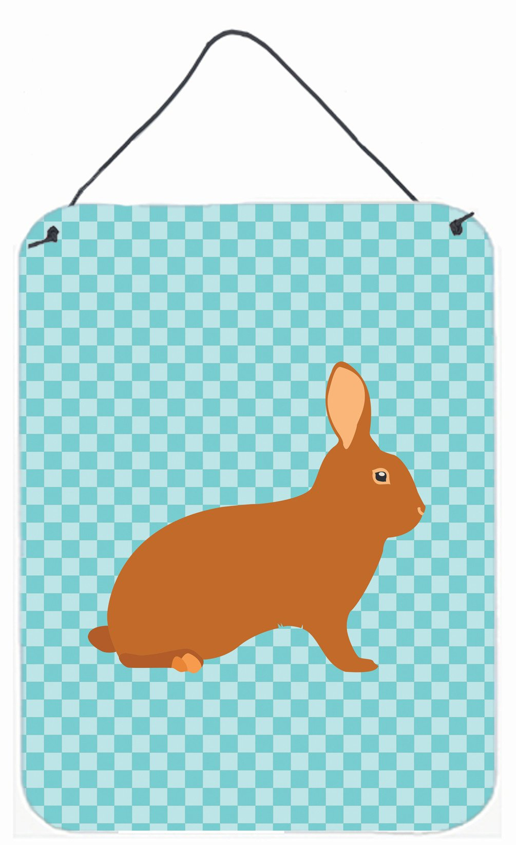 Rex Rabbit Blue Check Wall or Door Hanging Prints BB8143DS1216 by Caroline's Treasures