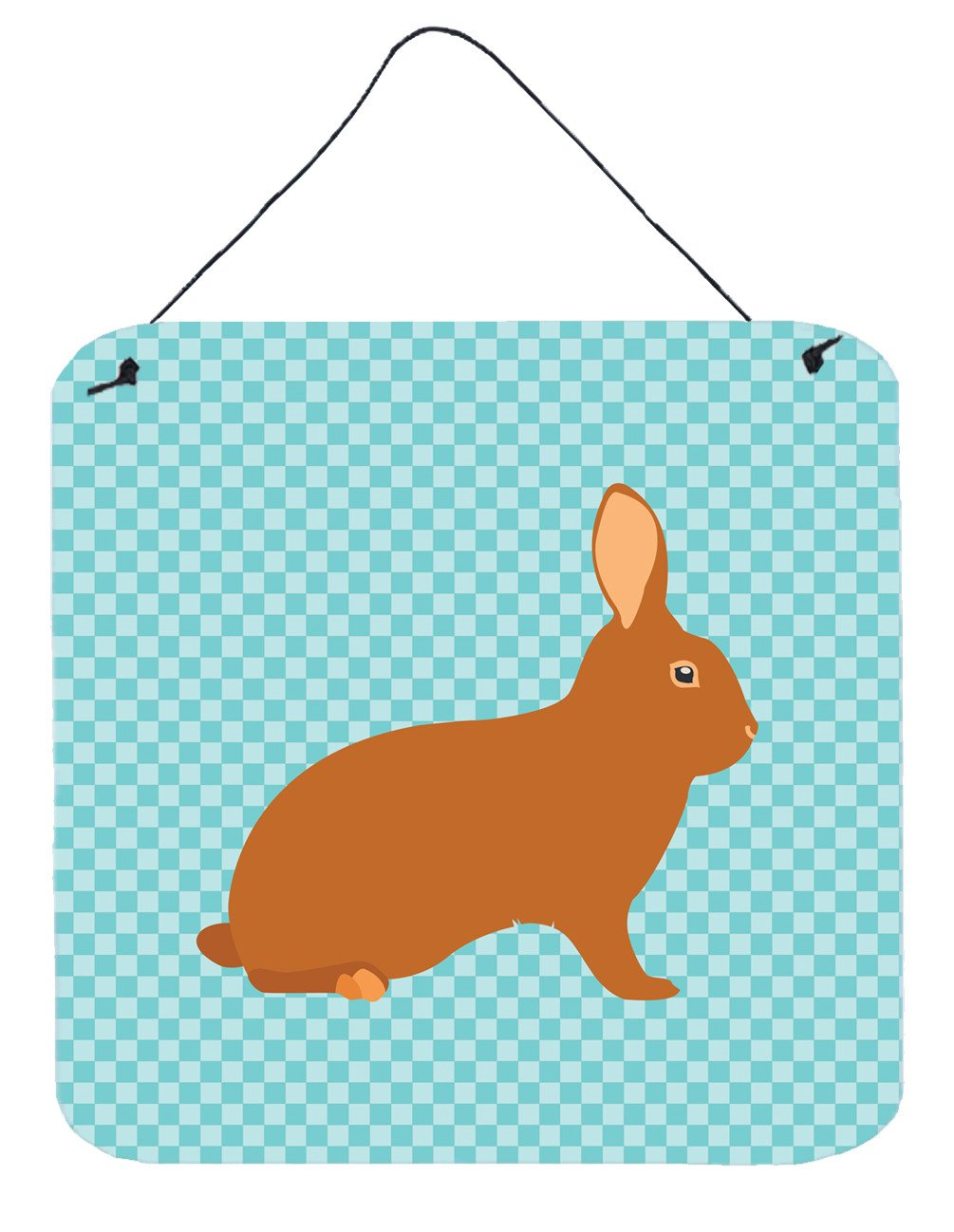 Rex Rabbit Blue Check Wall or Door Hanging Prints BB8143DS66 by Caroline's Treasures