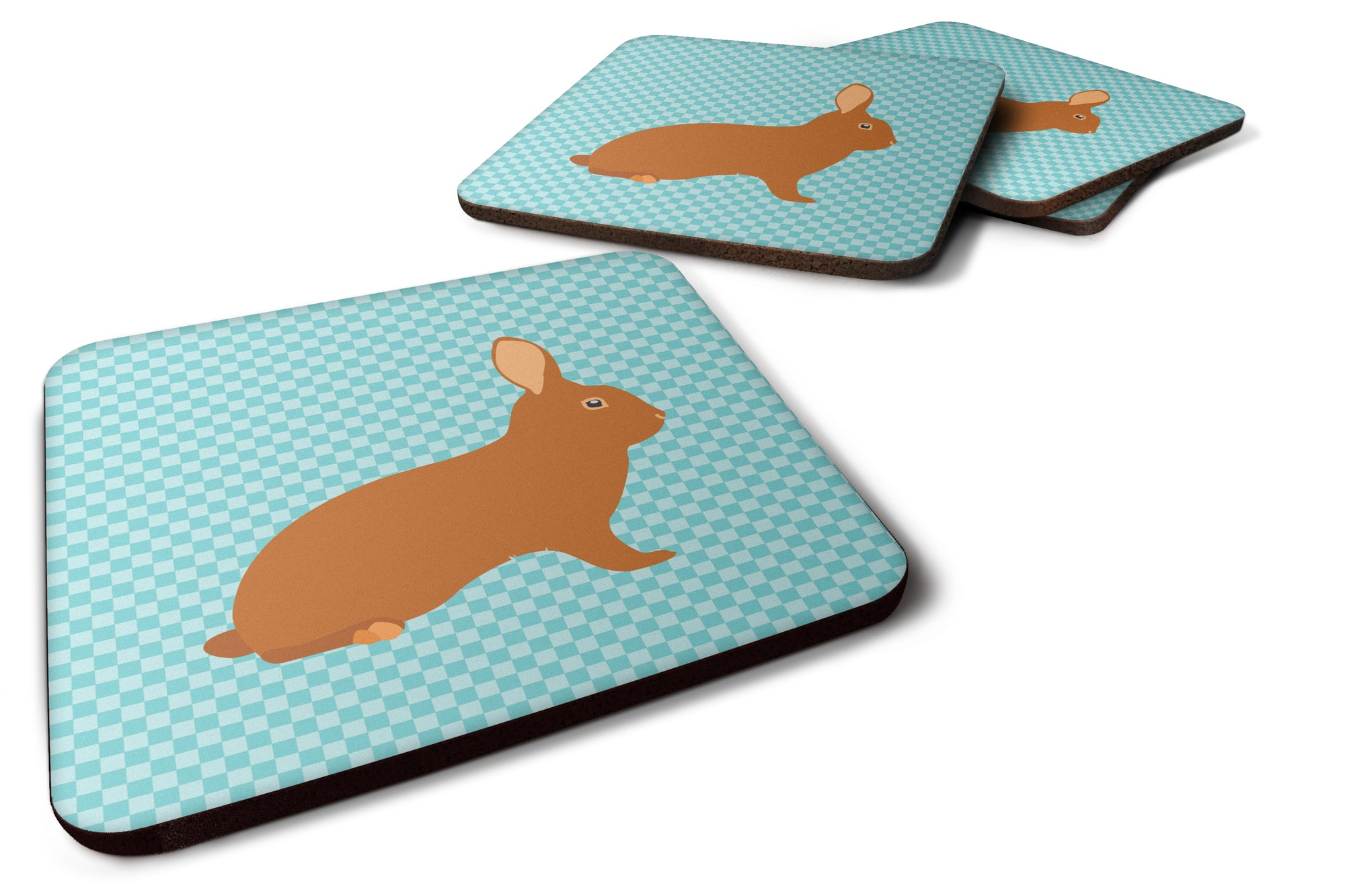 Rex Rabbit Blue Check Foam Coaster Set of 4 BB8143FC by Caroline's Treasures