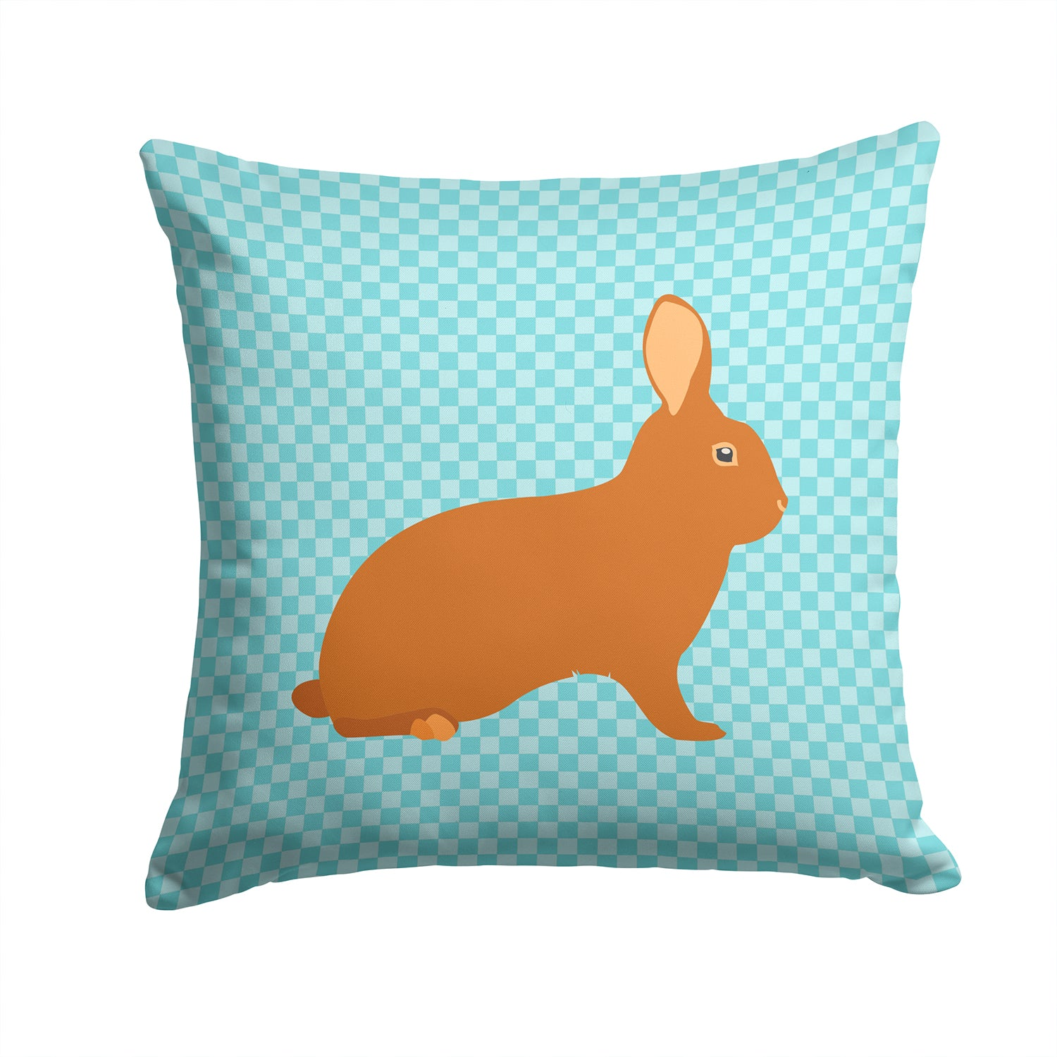 Rex Rabbit Blue Check Fabric Decorative Pillow BB8143PW1414 by Caroline's Treasures