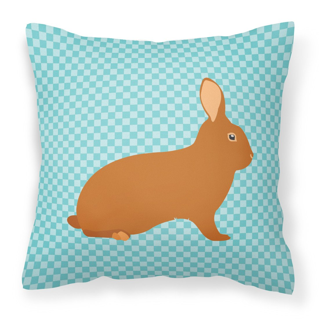 Rex Rabbit Blue Check Fabric Decorative Pillow BB8143PW1818 by Caroline's Treasures