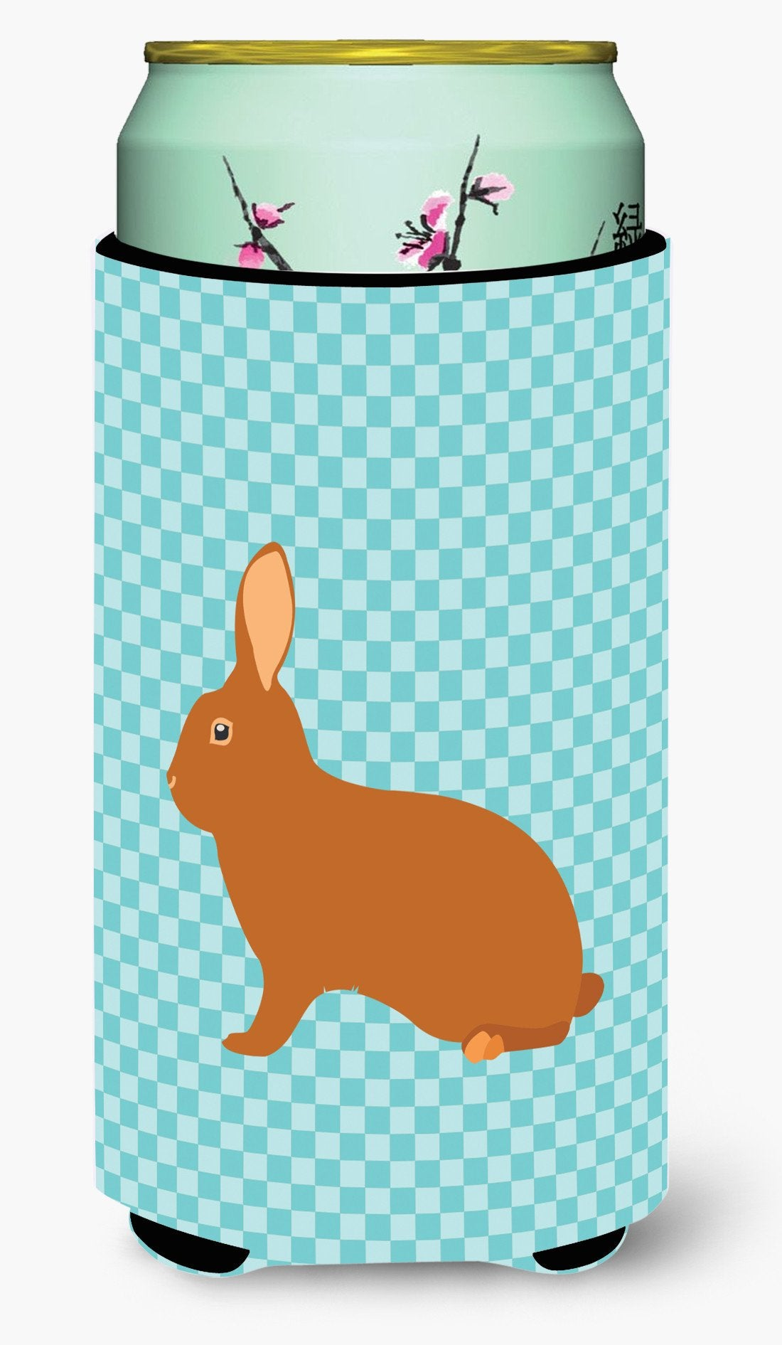 Rex Rabbit Blue Check Tall Boy Beverage Insulator Hugger BB8143TBC by Caroline's Treasures