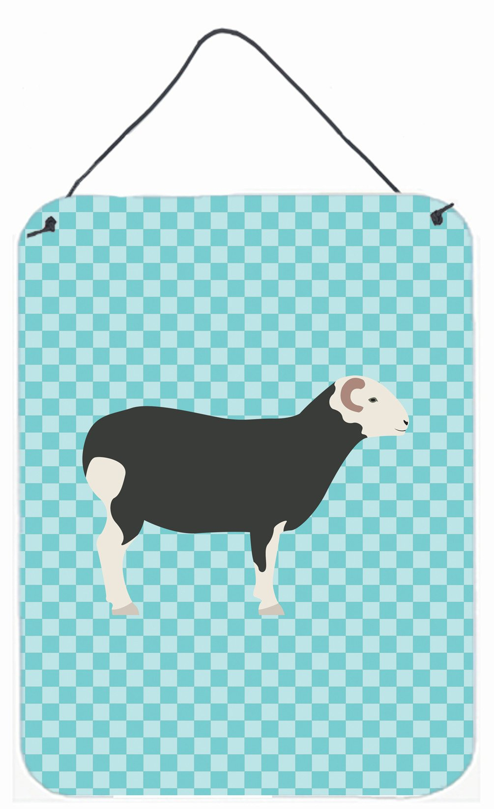 Herwick Sheep Blue Check Wall or Door Hanging Prints BB8144DS1216 by Caroline's Treasures