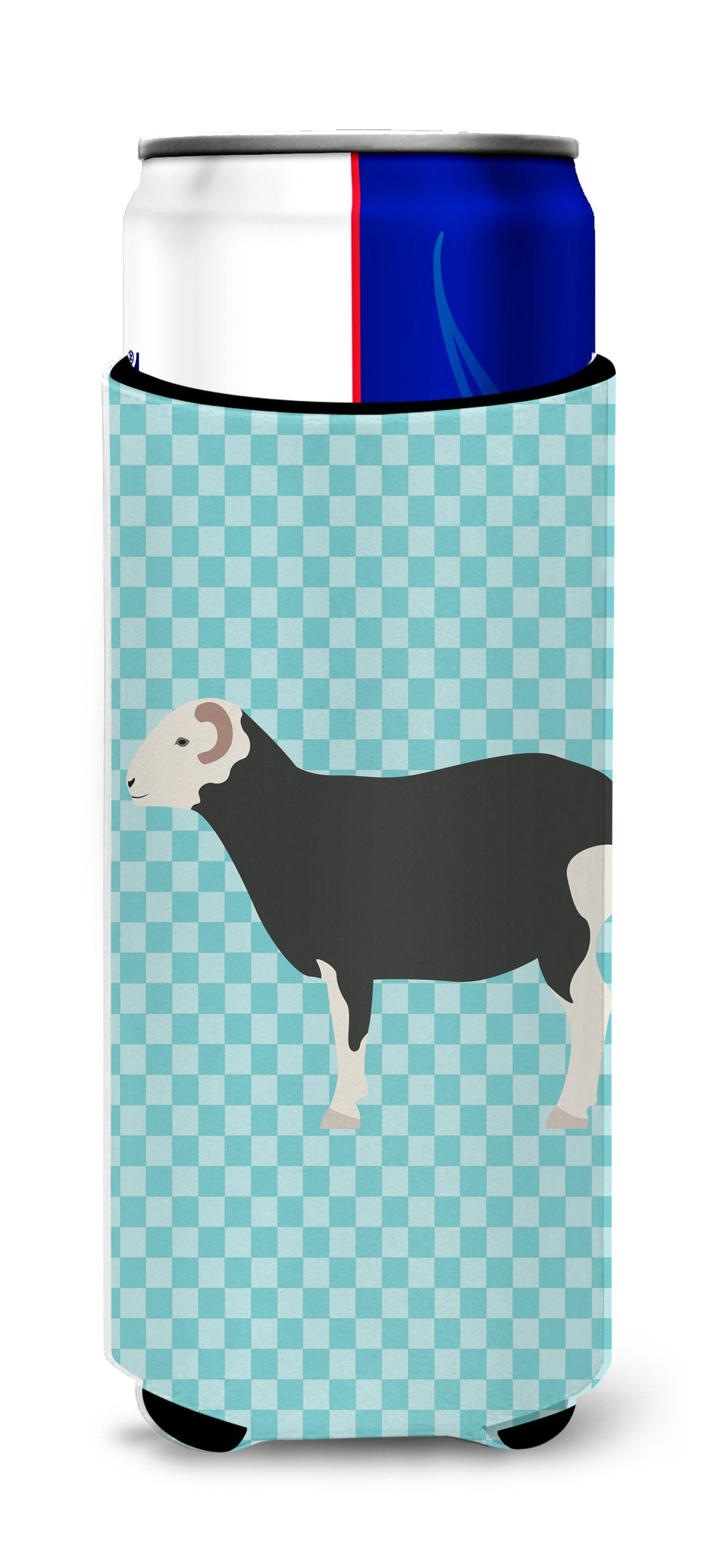 Herwick Sheep Blue Check Michelob Ultra Hugger for slim cans by Caroline's Treasures