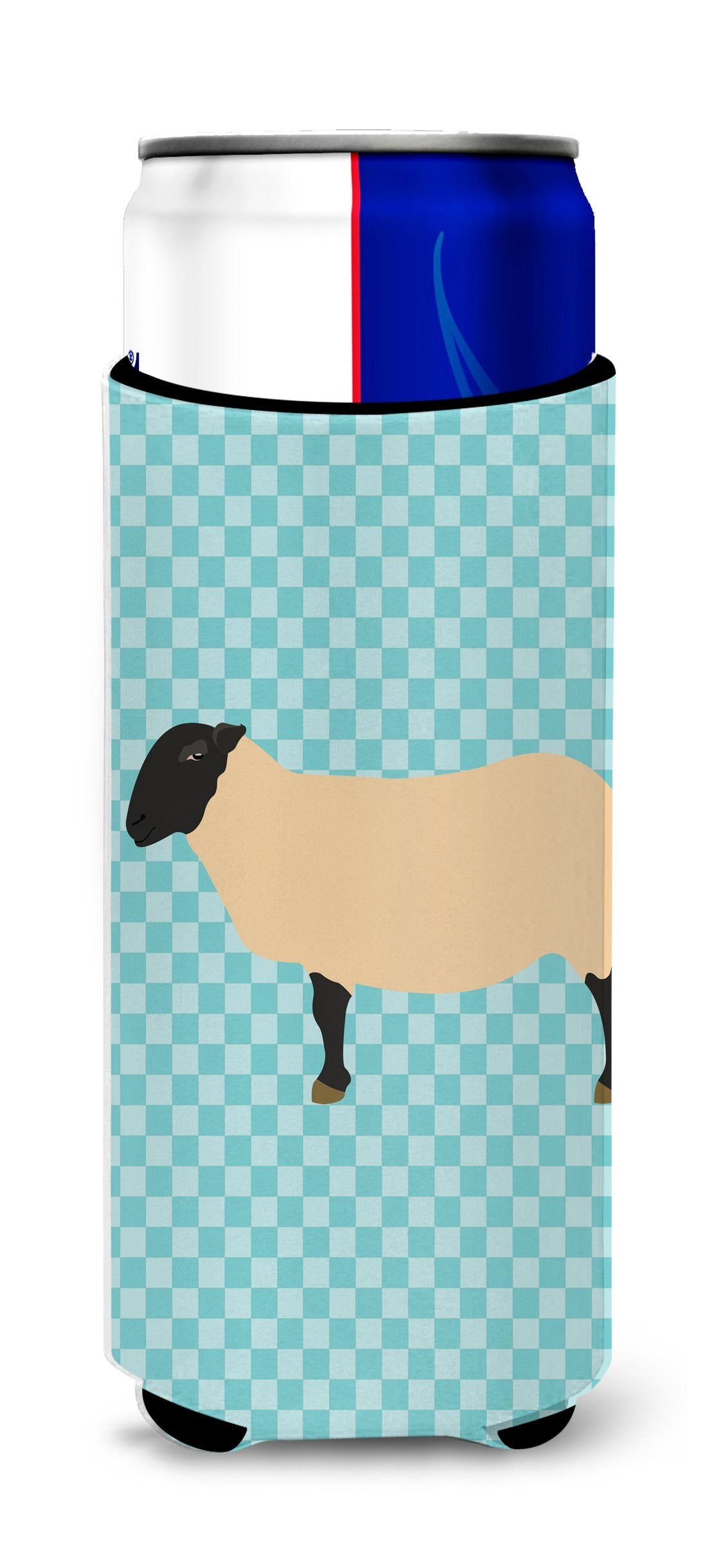 Buy this Suffolk Sheep Blue Check Michelob Ultra Hugger for slim cans