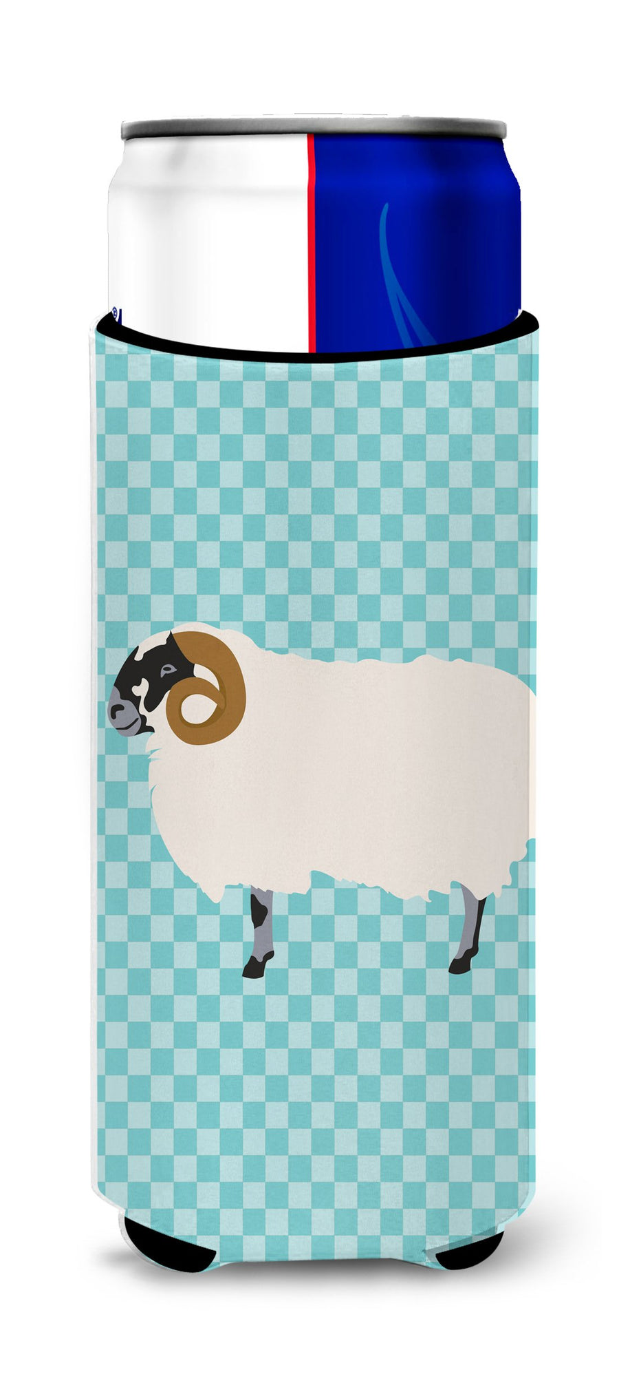 Buy this Scottish Blackface Sheep Blue Check Michelob Ultra Hugger for slim cans