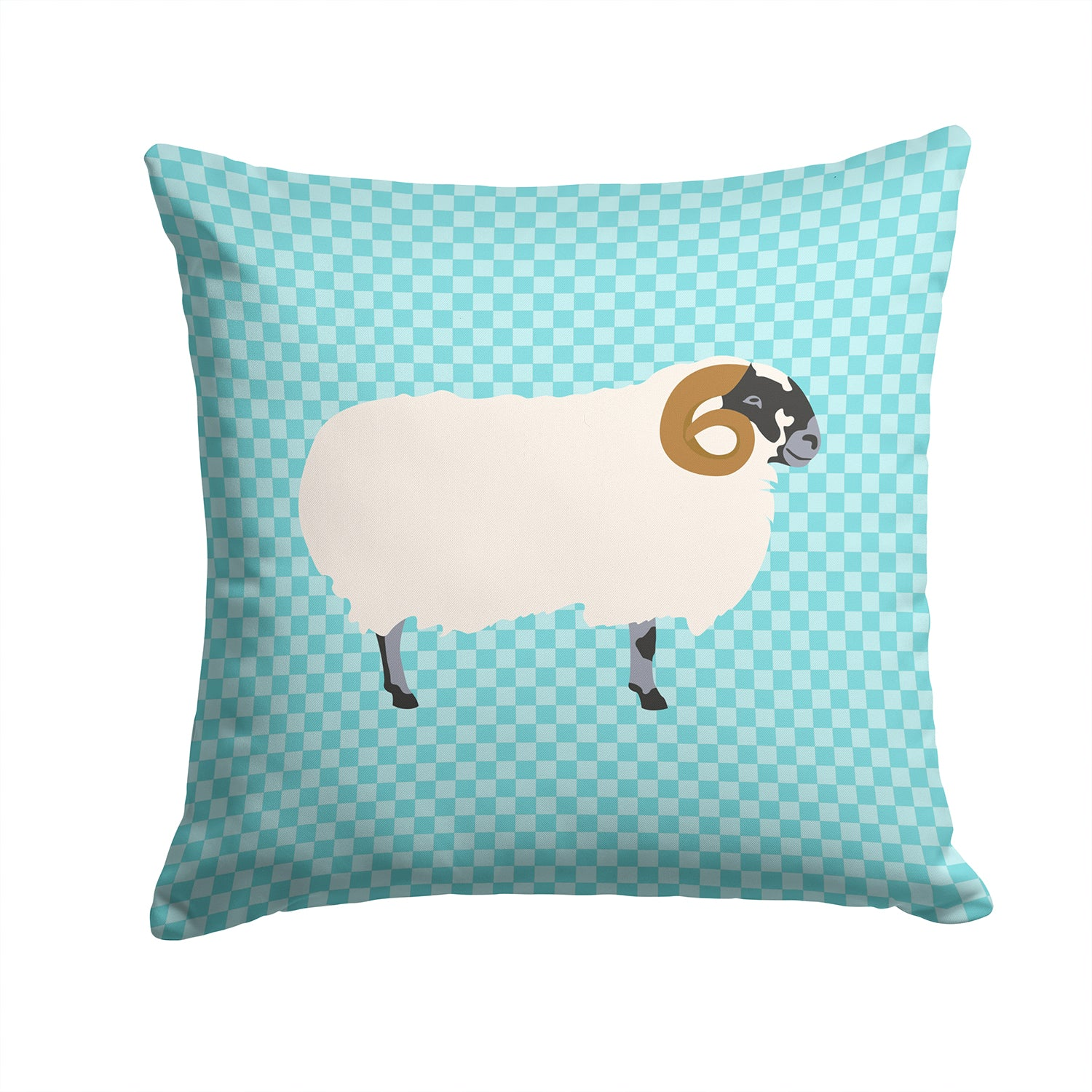 Scottish Blackface Sheep Blue Check Fabric Decorative Pillow BB8147PW1414 by Caroline's Treasures