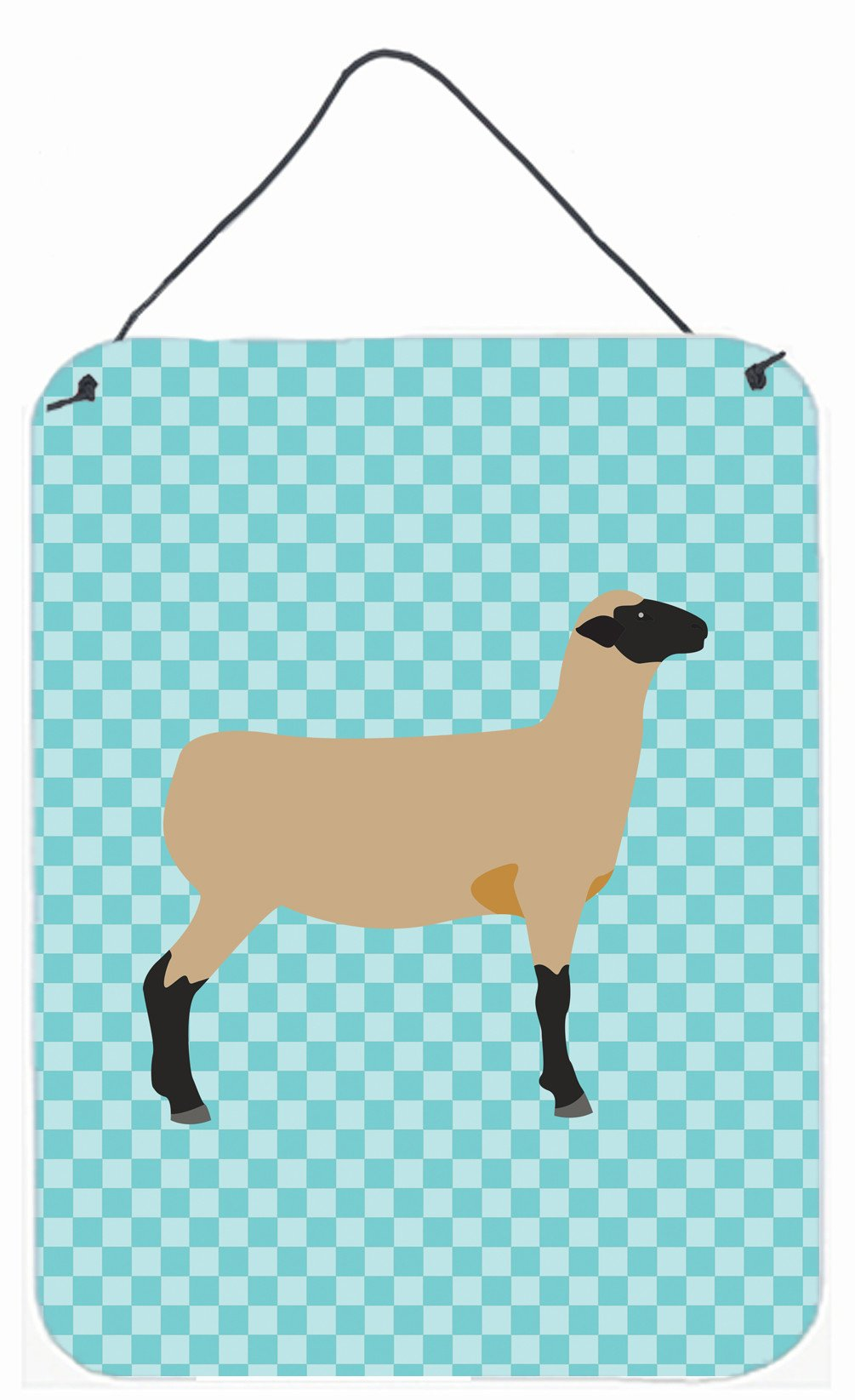 Hampshire Down Sheep Blue Check Wall or Door Hanging Prints BB8150DS1216 by Caroline's Treasures
