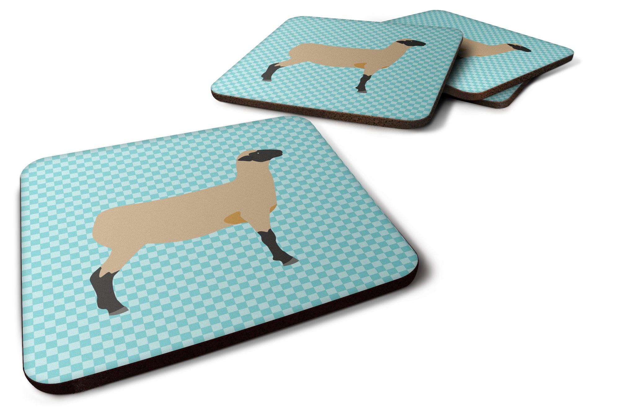 Hampshire Down Sheep Blue Check Foam Coaster Set of 4 BB8150FC by Caroline's Treasures