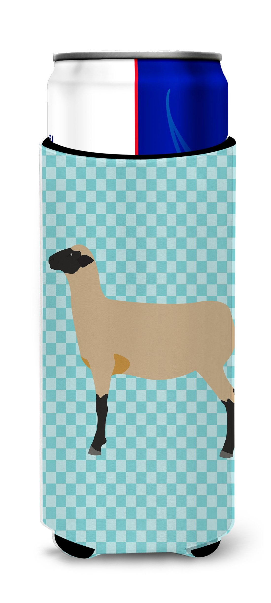Hampshire Down Sheep Blue Check Michelob Ultra Hugger for slim cans by Caroline's Treasures