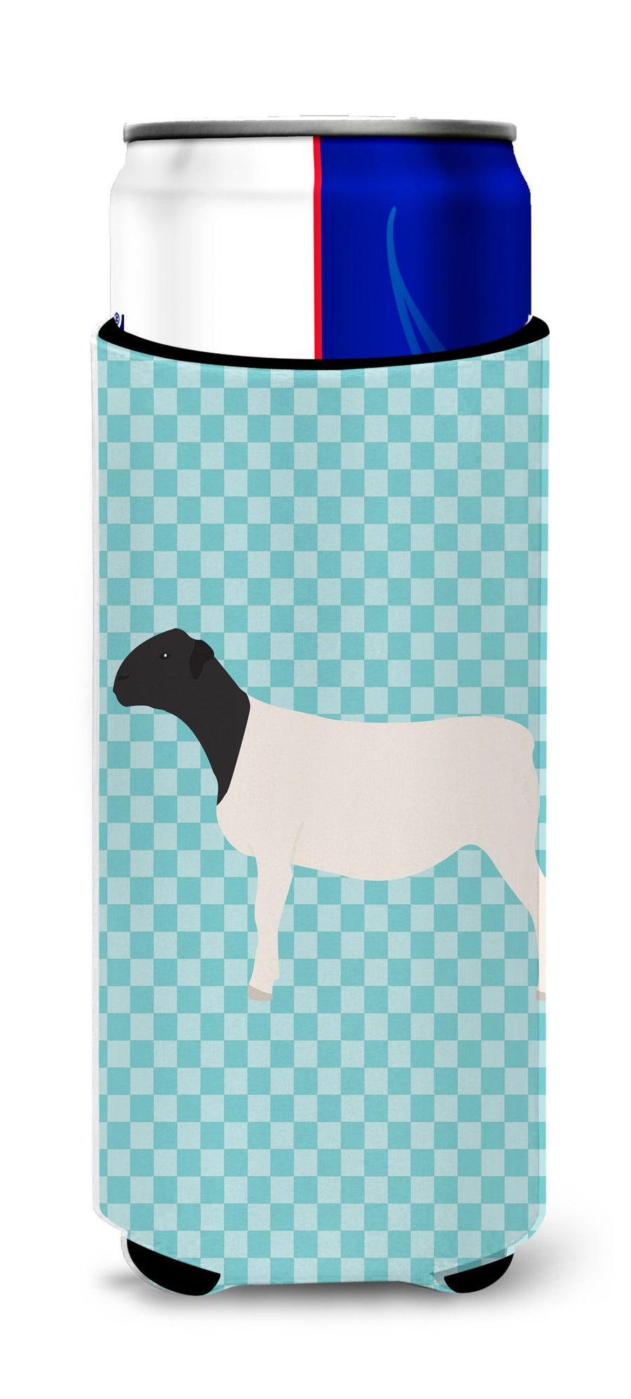 Buy this Dorper Sheep Blue Check Michelob Ultra Hugger for slim cans
