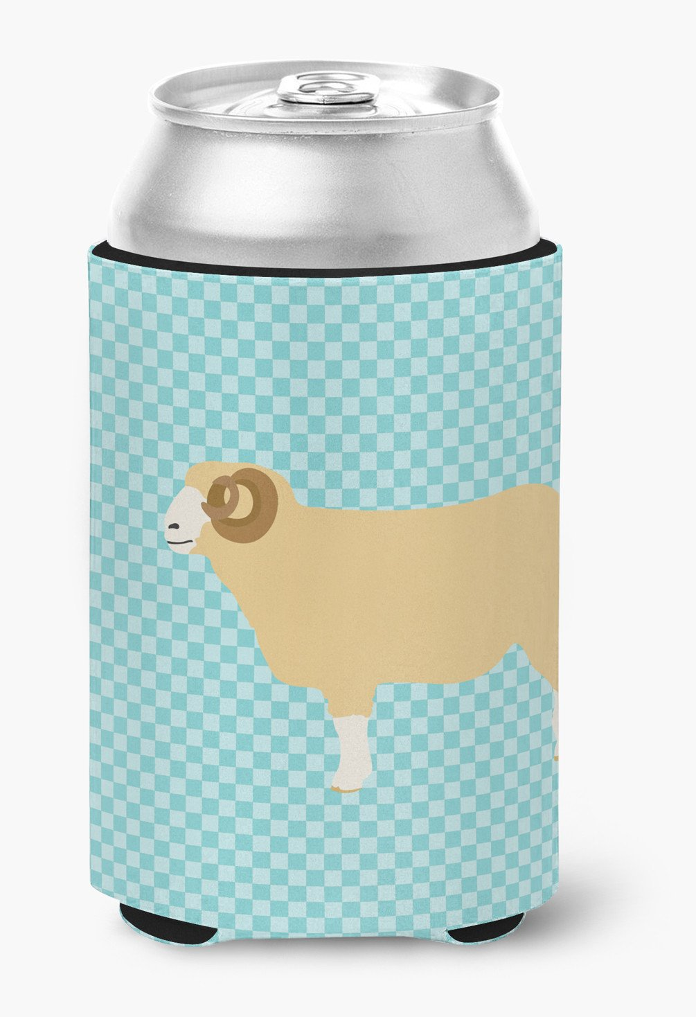 Buy this Horned Dorset Sheep Blue Check Can or Bottle Hugger BB8154CC