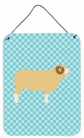 Buy this Horned Dorset Sheep Blue Check Wall or Door Hanging Prints BB8154DS1216