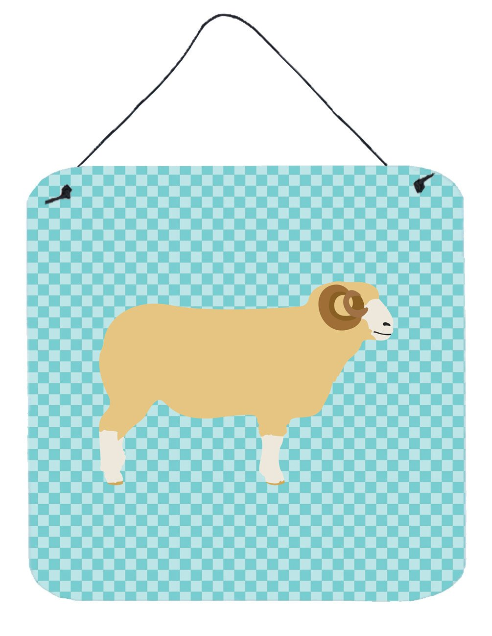 Buy this Horned Dorset Sheep Blue Check Wall or Door Hanging Prints BB8154DS66